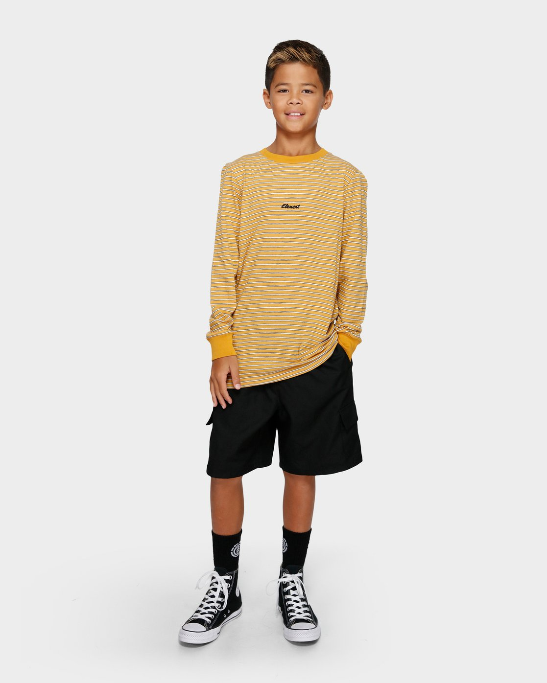 3 YOUTH GRIND STRIPE LS TEE Yellow 393051 Element