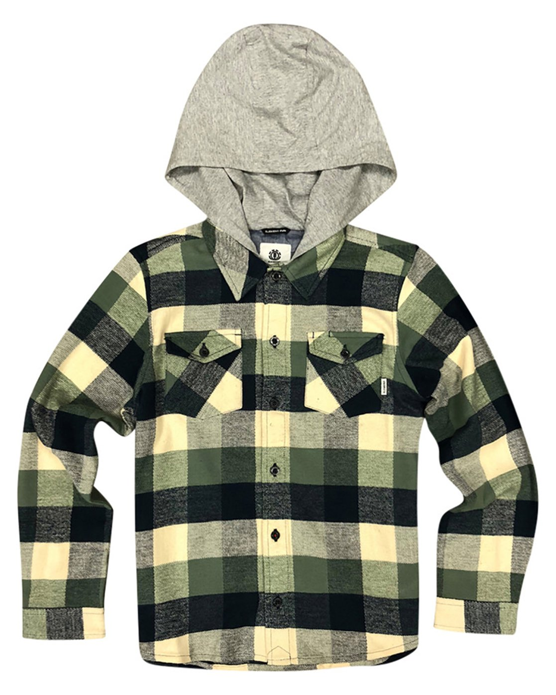 1 Boy's Tacoma Hooded Flannel Shirt Green B551QETL Element