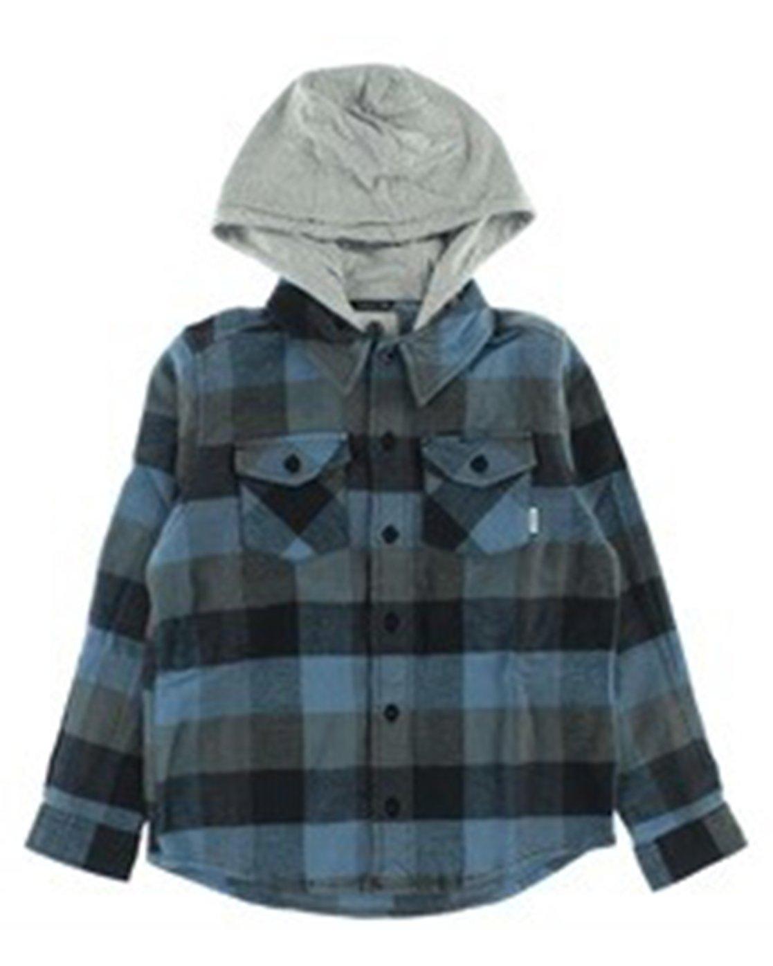 1 Boy's Tacoma Hooded Flannel Shirt Blue B551QETL Element