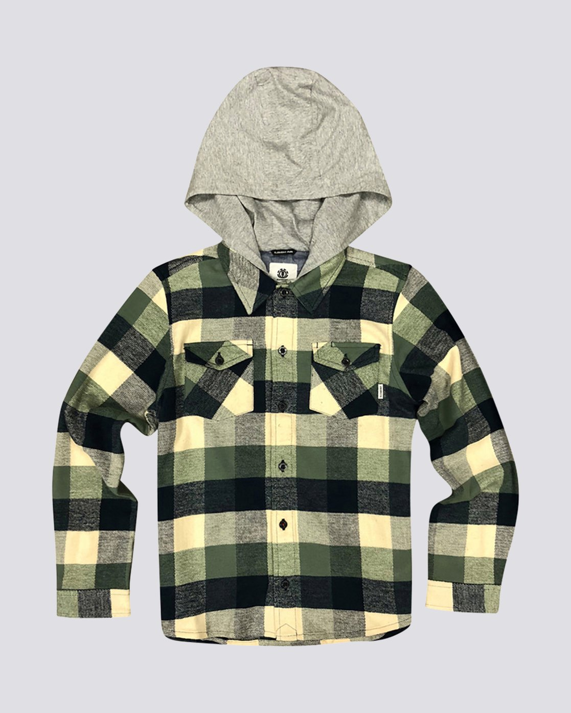 0 Boy's Tacoma Hooded Flannel Shirt Green B551QETL Element