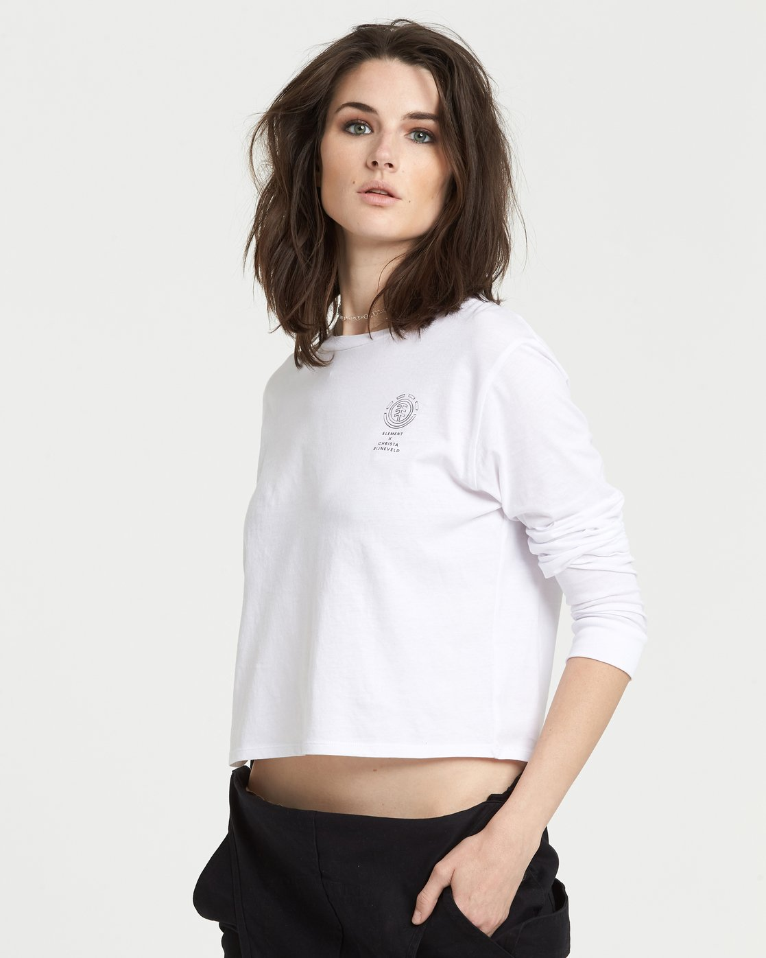 1 Christa Crop Long Sleeve T-Shirt White J4021ECH Element