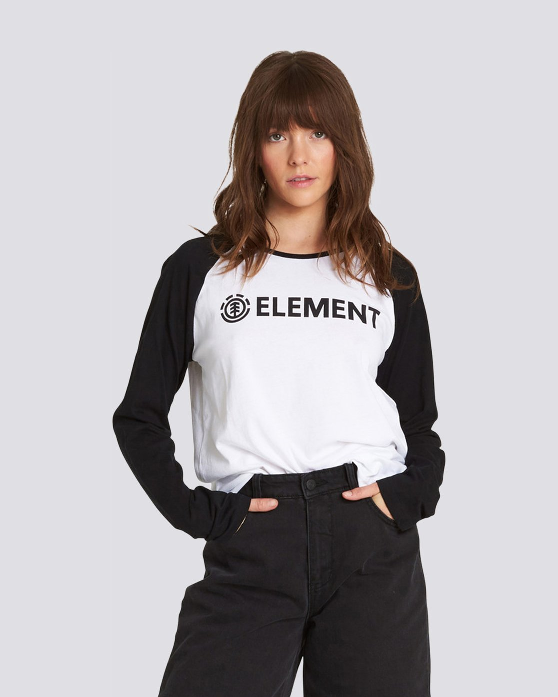 0 Element Logo Raglan Tee White J473QEEL Element
