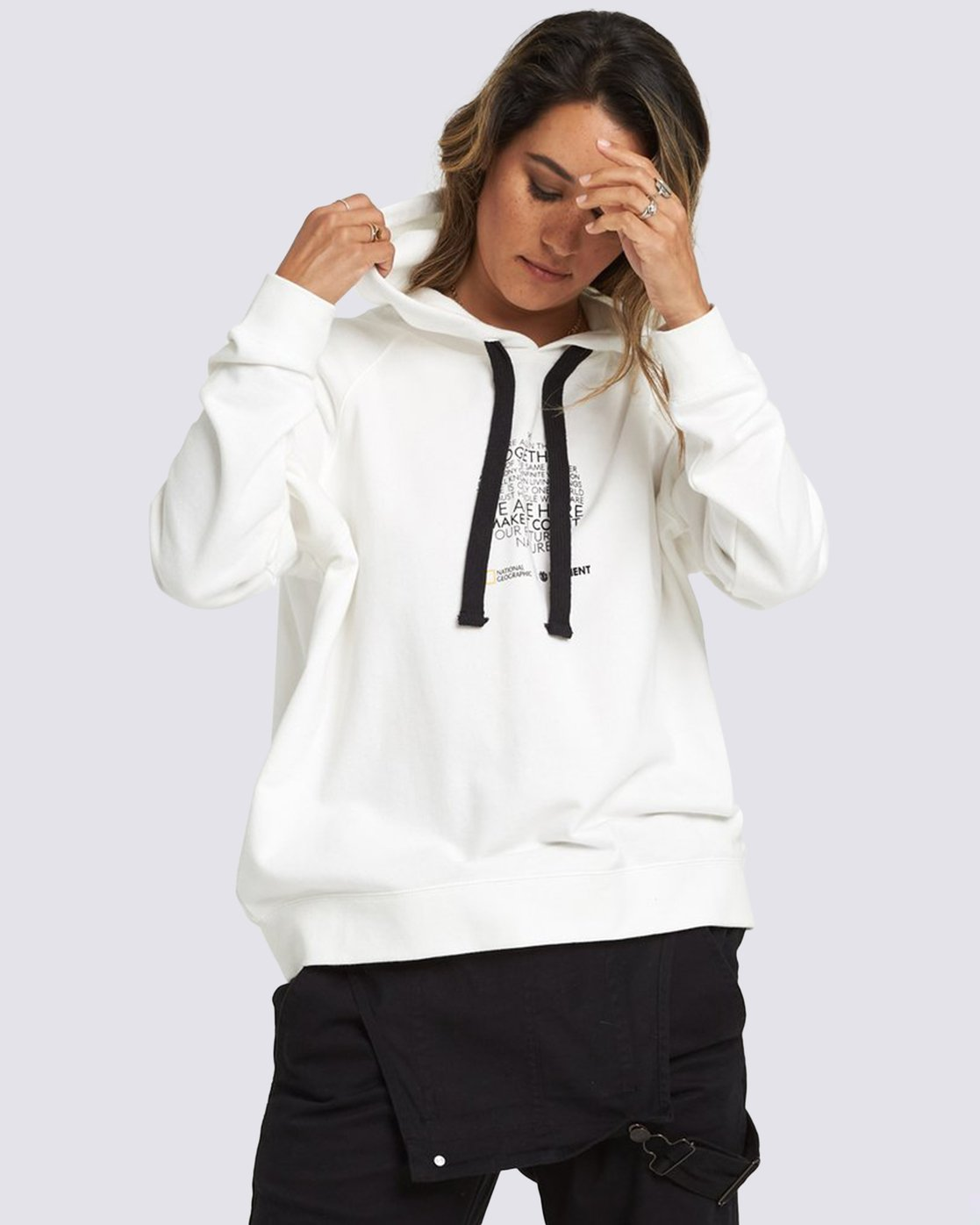 1 National Geographic Hoodie White J6041ENG Element
