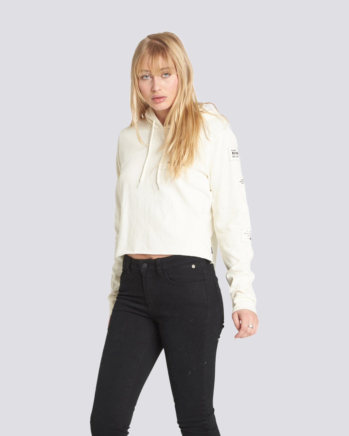 2 Skurt Cropped Hoodie White J640QESK Element