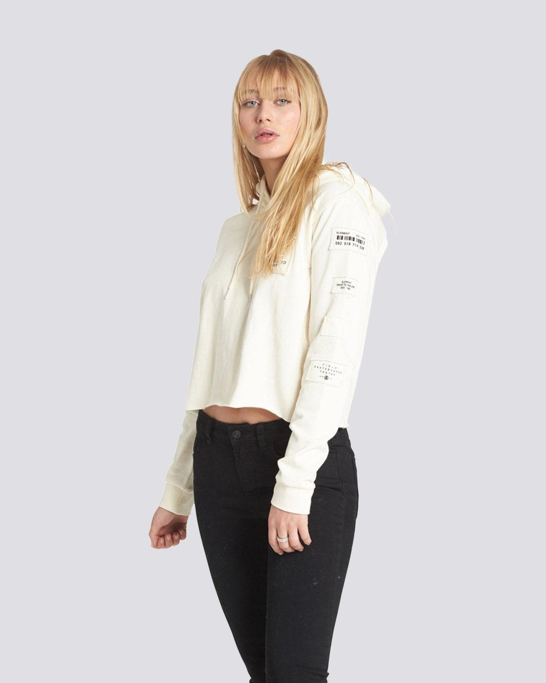 3 Skurt Cropped Hoodie White J640QESK Element