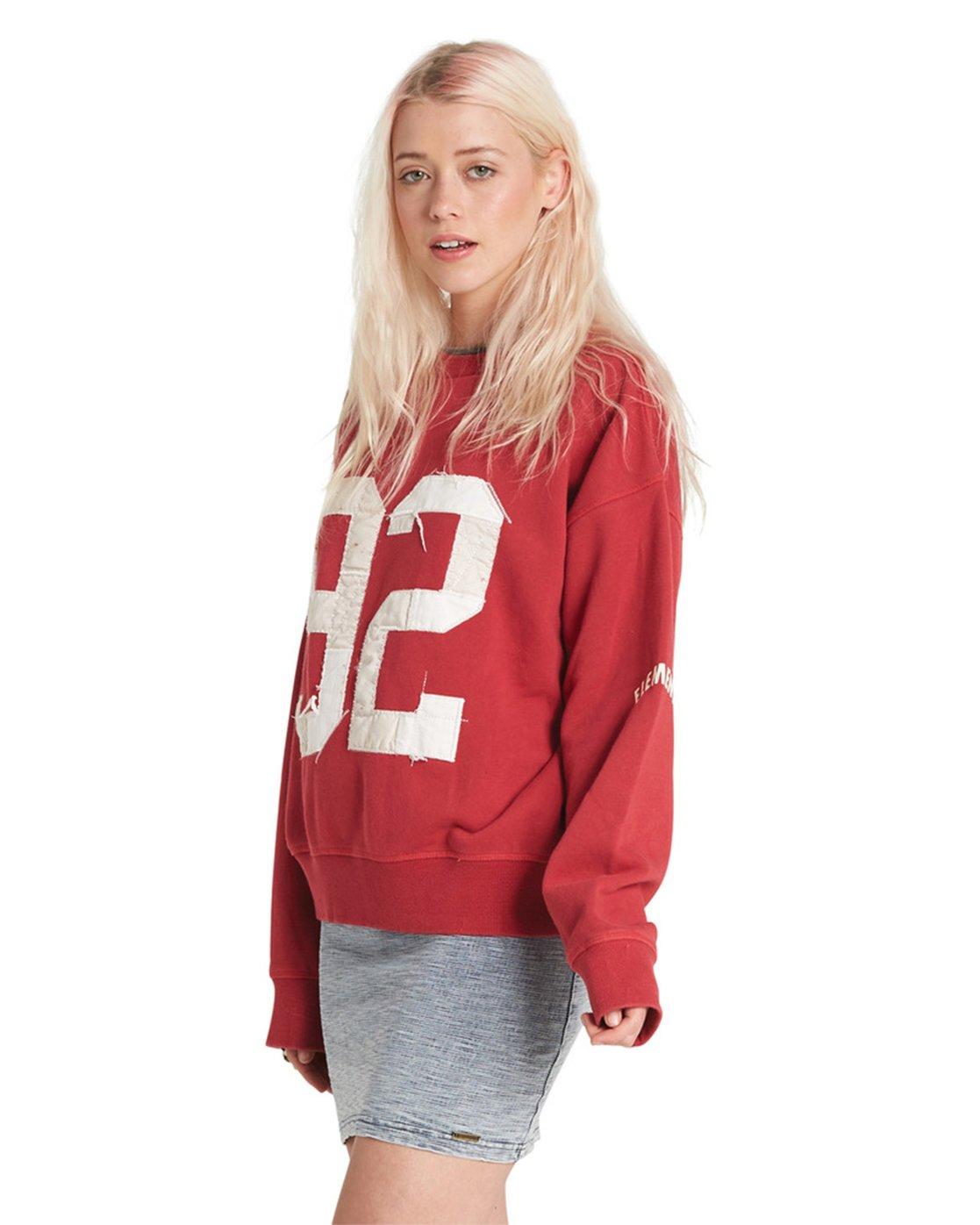 6 Season Star Crew Neck Sweatshirt Red J657SESE Element
