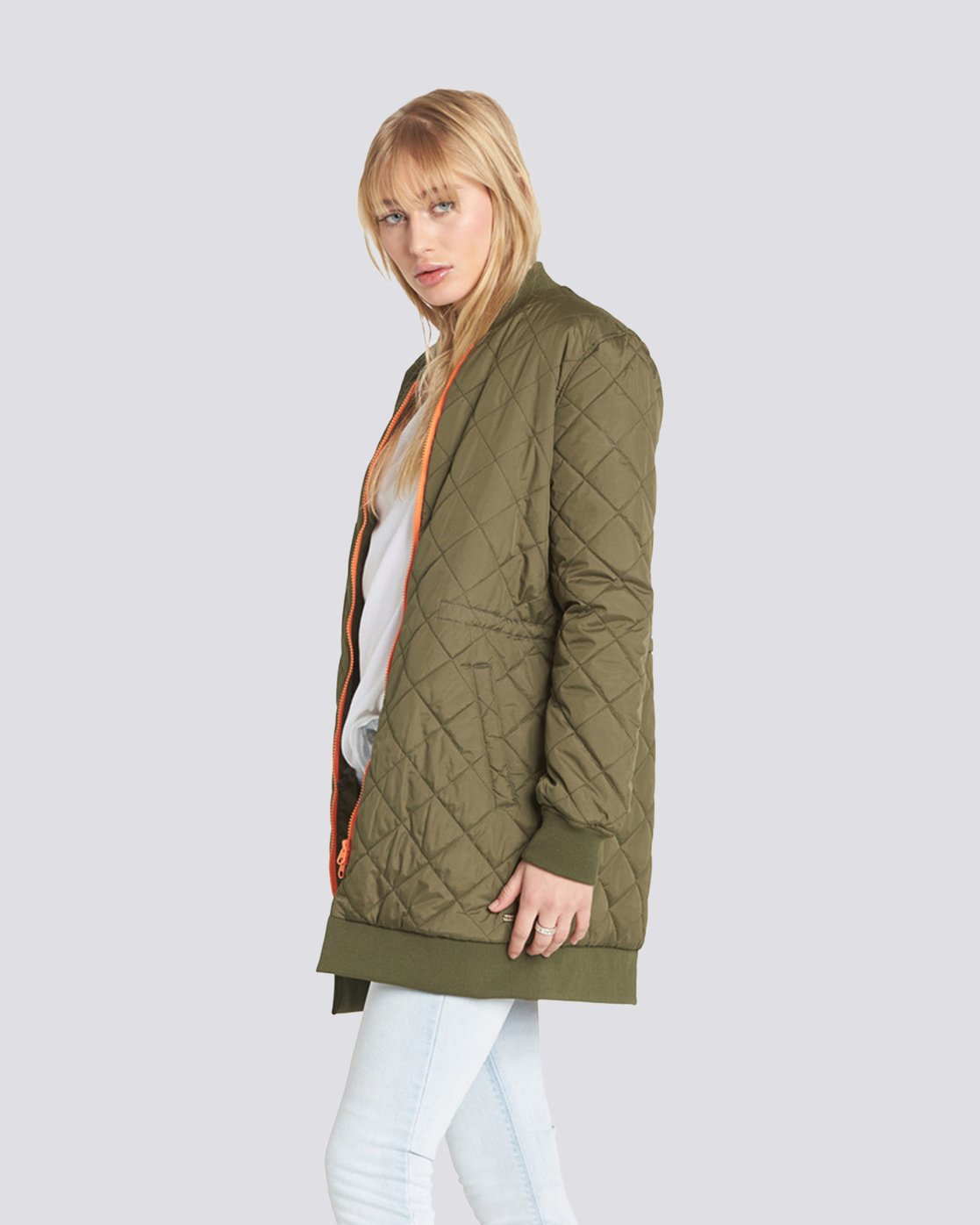 2 Sharpen Longline Bomber Jacket Green J791QESH Element