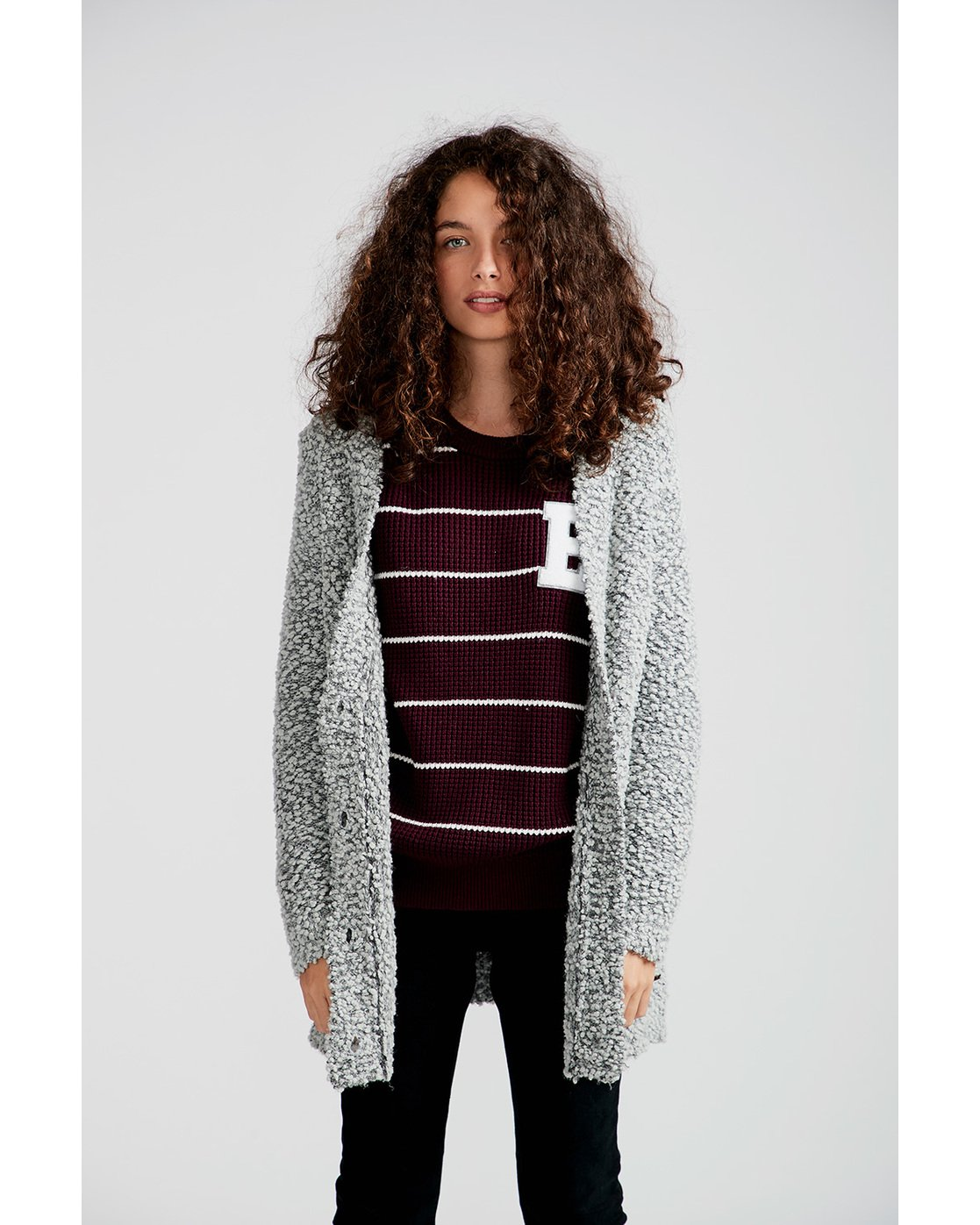 1 In The Air Cardigan Grey JV09QEIN Element