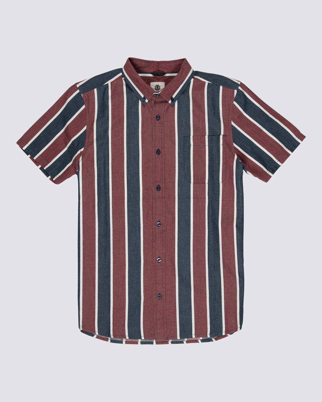 0 Icon Stripes Button Down Shirt Blue M5261EIC Element