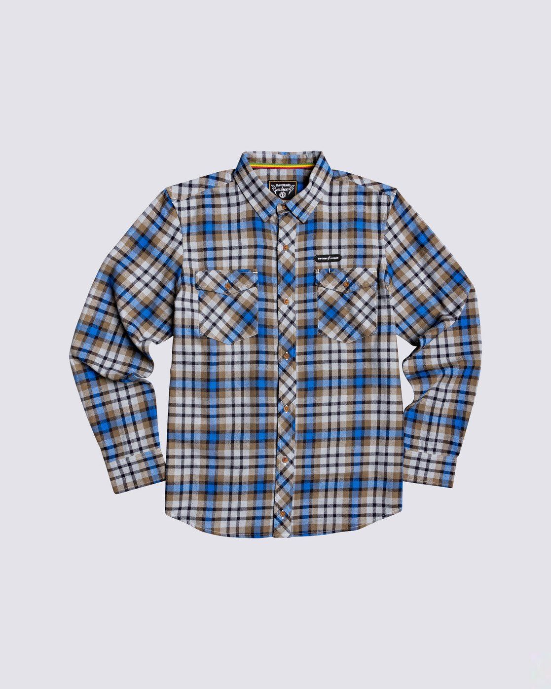 0 Human Rights Long Sleeve Flannel Shirt Blue M5683EHU Element