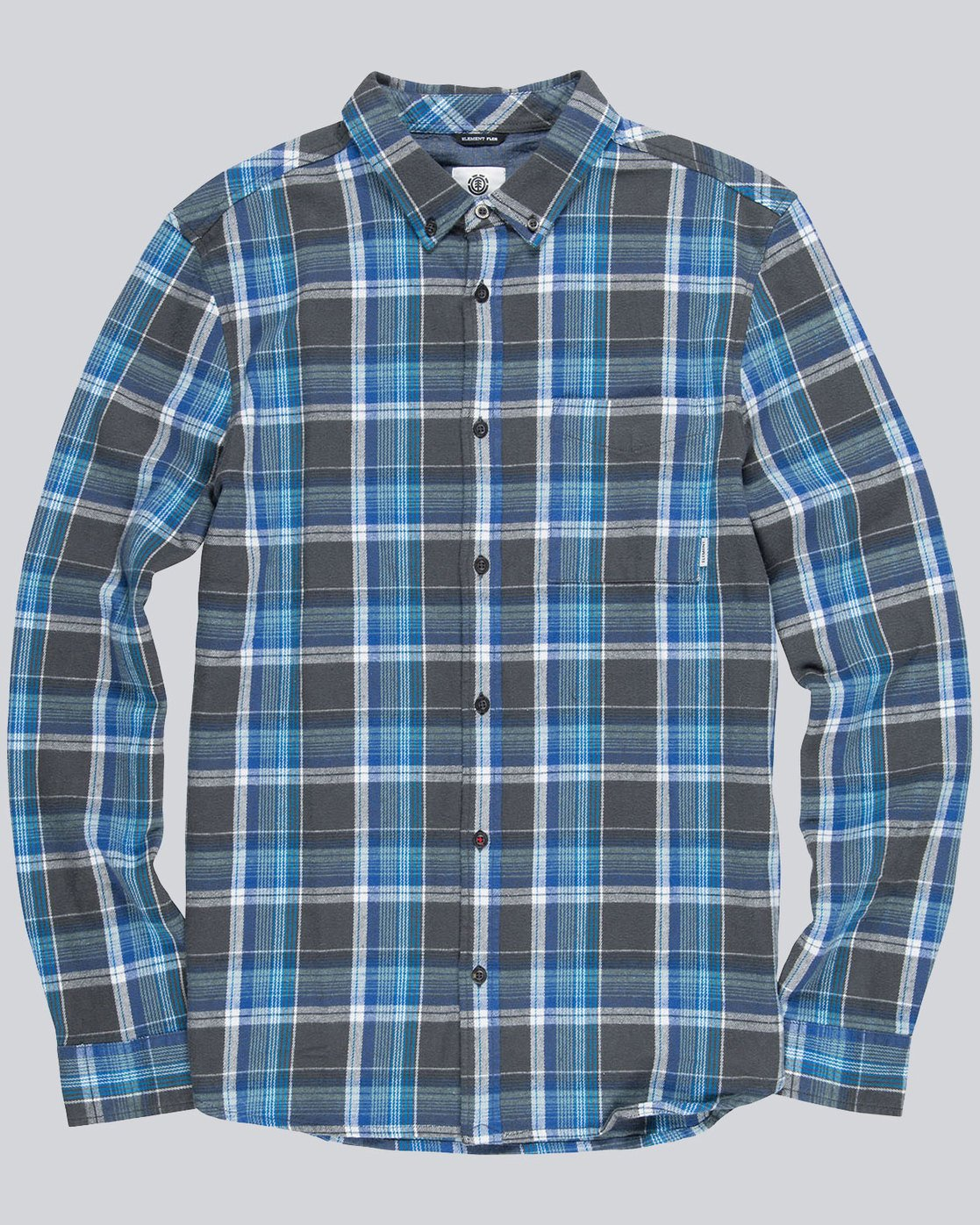 0 Buffalo Long Sleeve Flannel Shirt Grey M572QEBU Element