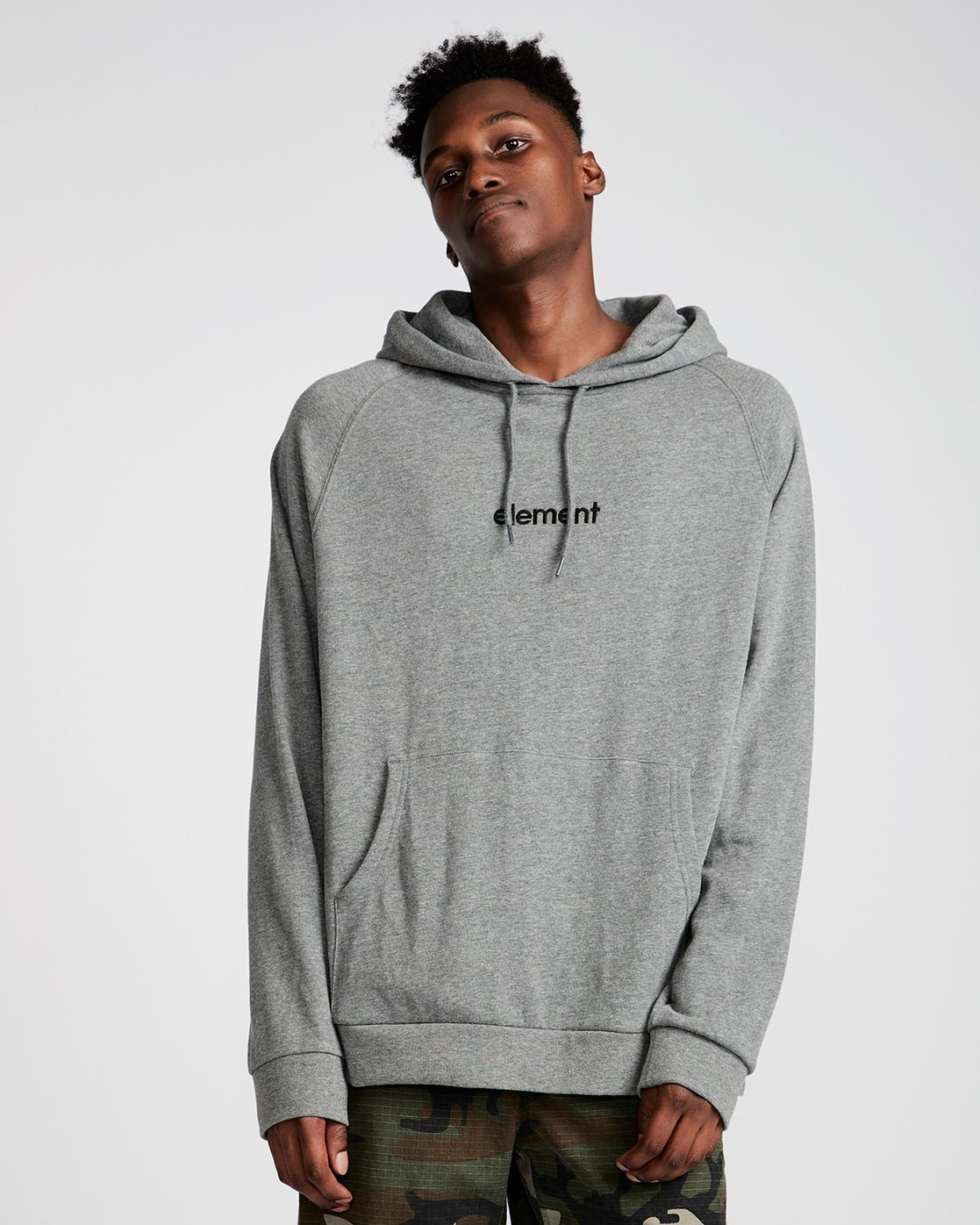 1 Big Hood French Terry Pullover Hoodie Grey M609TEBF Element