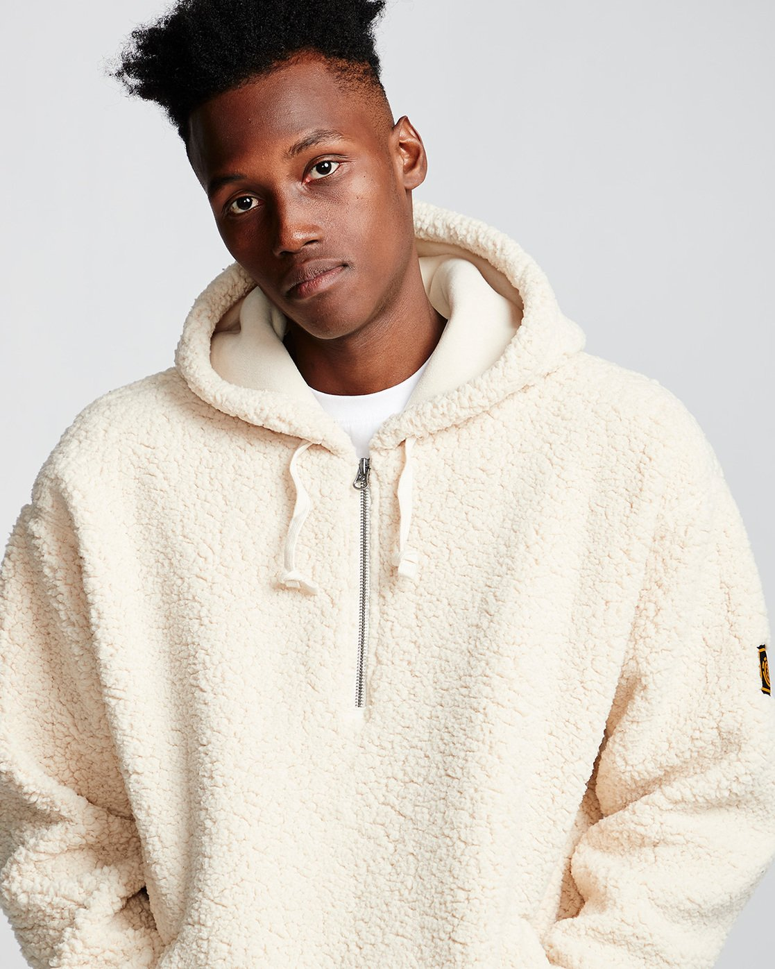 2 Big Shearling Hoodie White M642WEBS Element
