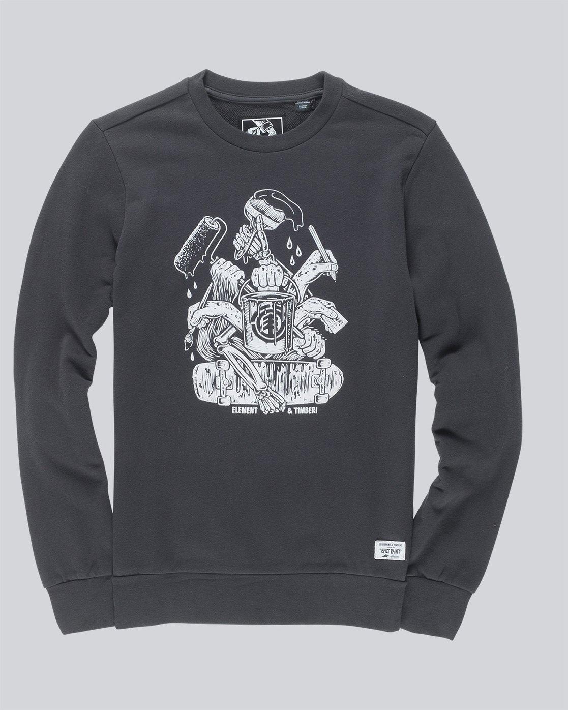 3 By Hand Crew - Fleece for Men Black N1CRB4ELP9 Element