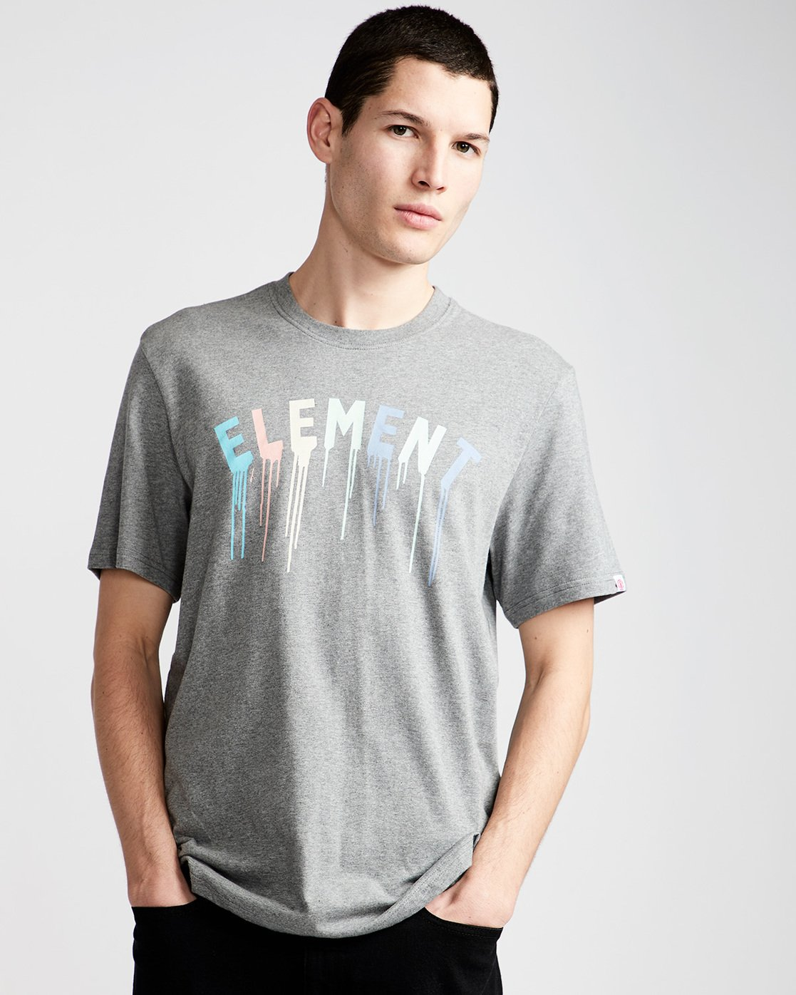0 Stencil Ss - Tee Shirt for Men Grey N1SSE6ELP9 Element