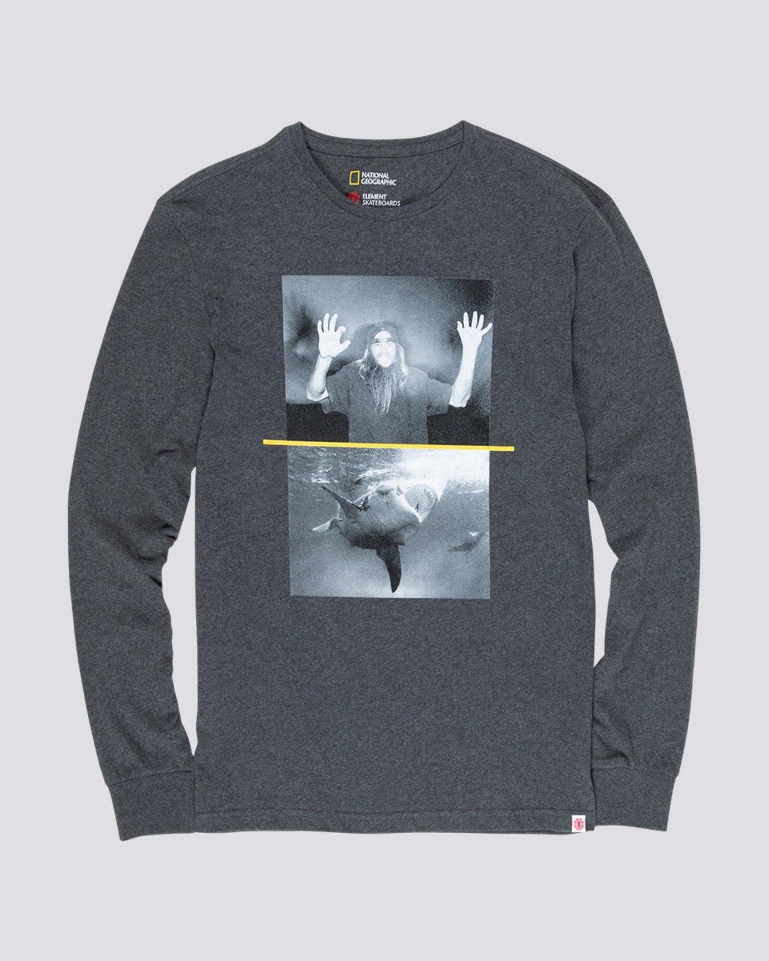 3 Shark Fletcher - Long Sleeve T-Shirt Grey Q1LSB5ELF9 Element