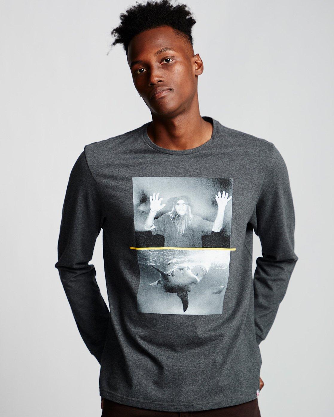 0 Shark Fletcher - Long Sleeve T-Shirt Grey Q1LSB5ELF9 Element