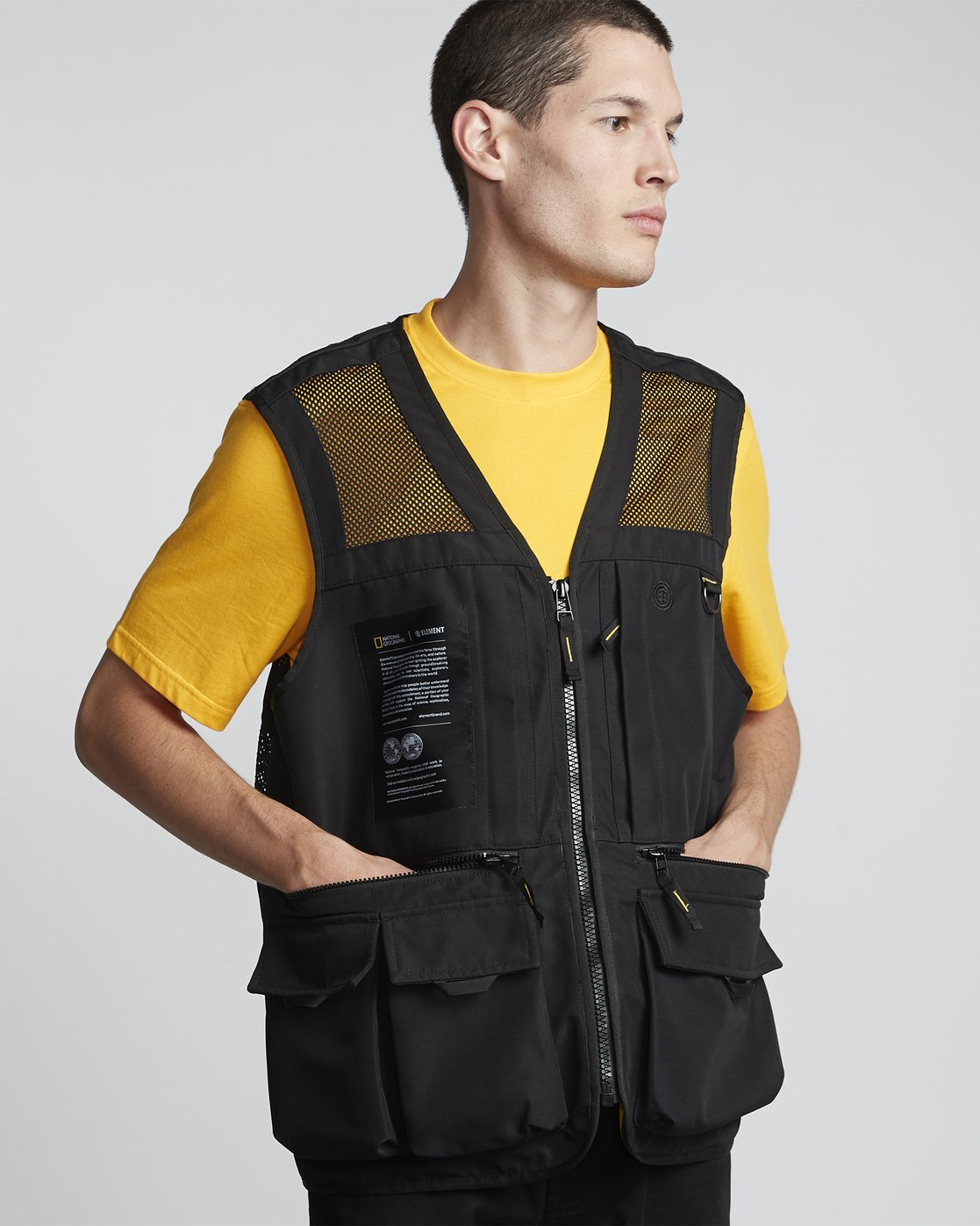 0 National Geographic Aether - Recycled Waterproof Vest for Men Black S1JKC6ELP0 Element