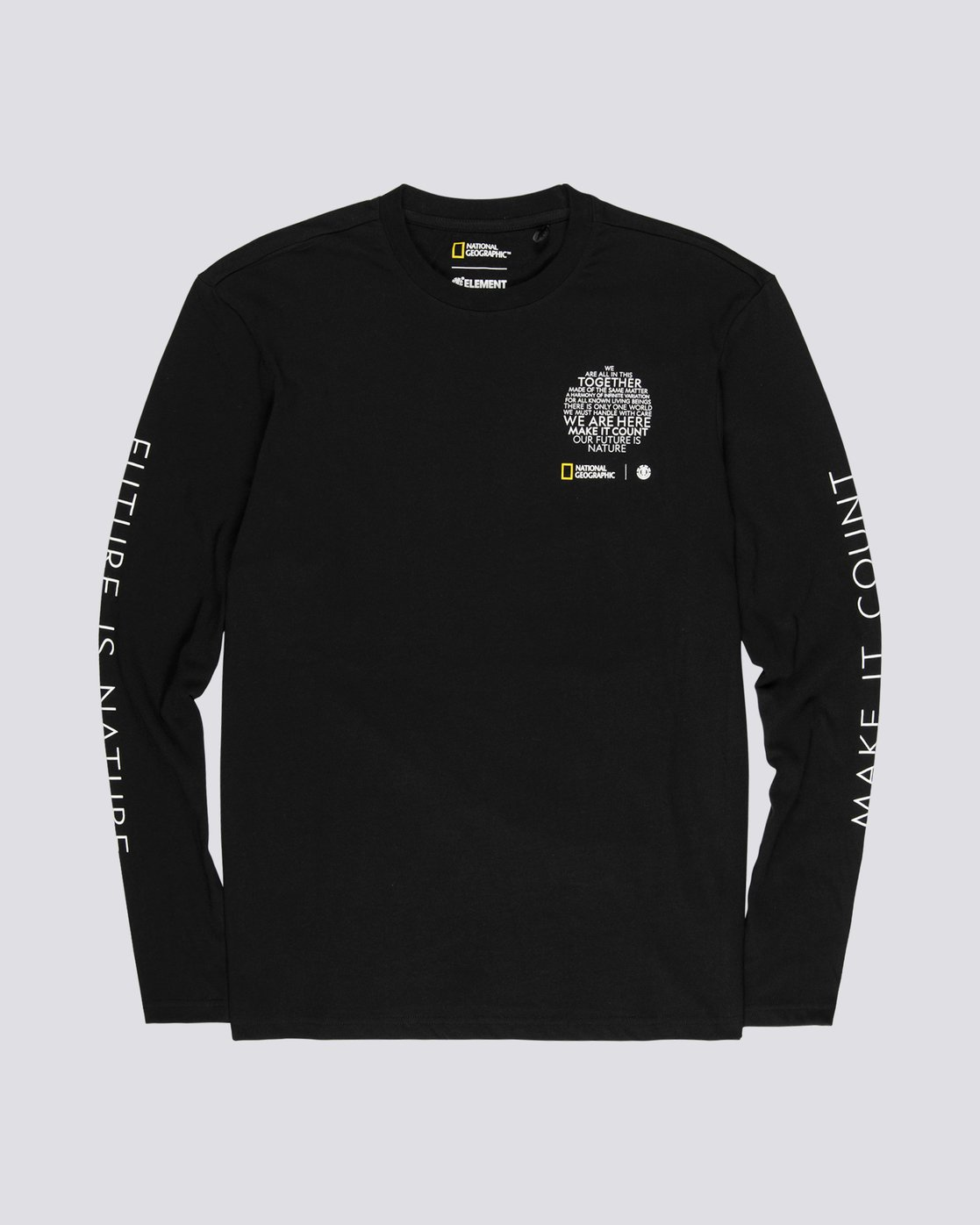3 National Geographic Earth - Organic Cotton Long Sleeve T-Shirt for Men Black S1LSB9ELP0 Element