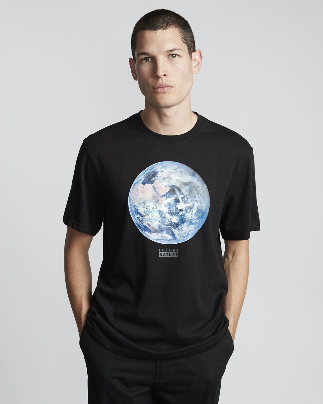 0 National Geographic Earth - Organic Cotton Short Sleeve T-Shirt for Men Black S1SSG9ELP0 Element