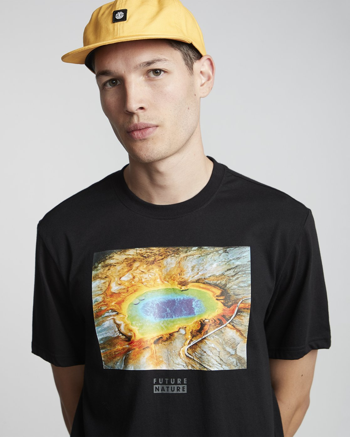 2 National Geographic Geyser - Organic Cotton Short Sleeve T-Shirt for Men Black S1SSH1ELP0 Element