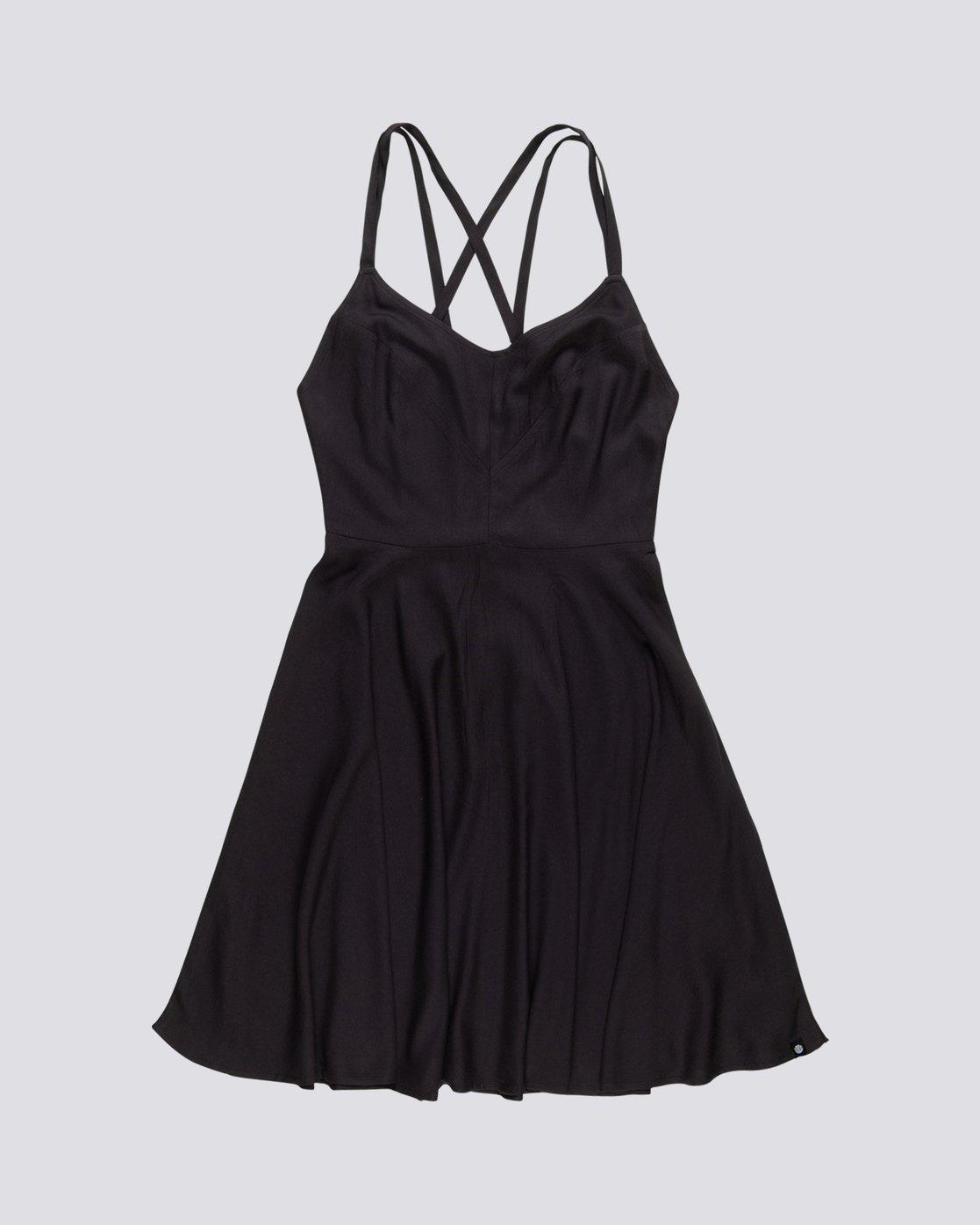 0 Heart Twill - Viscose Dress for Women Black S3DRA2ELP0 Element