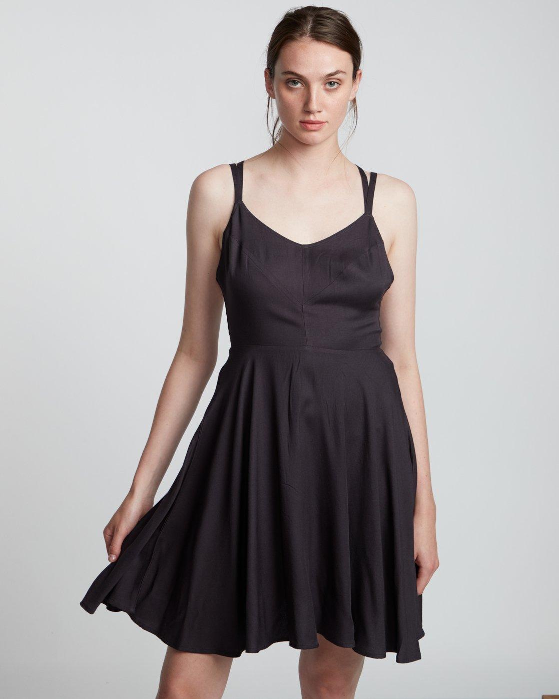 1 Heart Twill - Viscose Dress for Women Black S3DRA2ELP0 Element