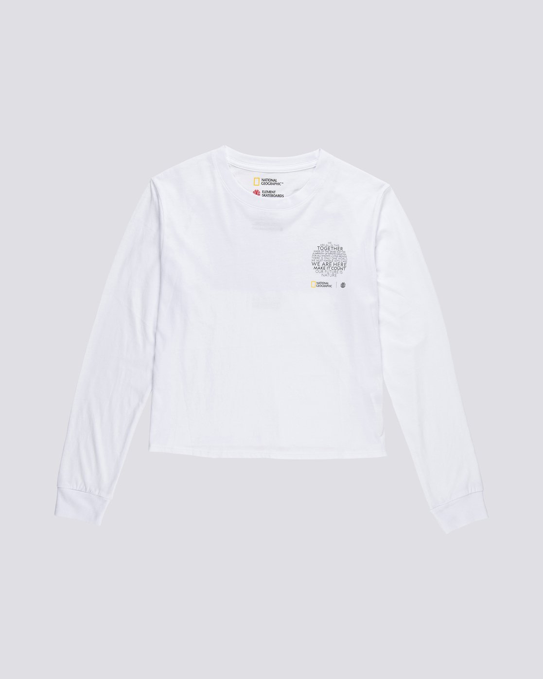 2 Nat Geo - Organic Cotton Long Sleeve T-Shirt for Women White S3LSA1ELP0 Element