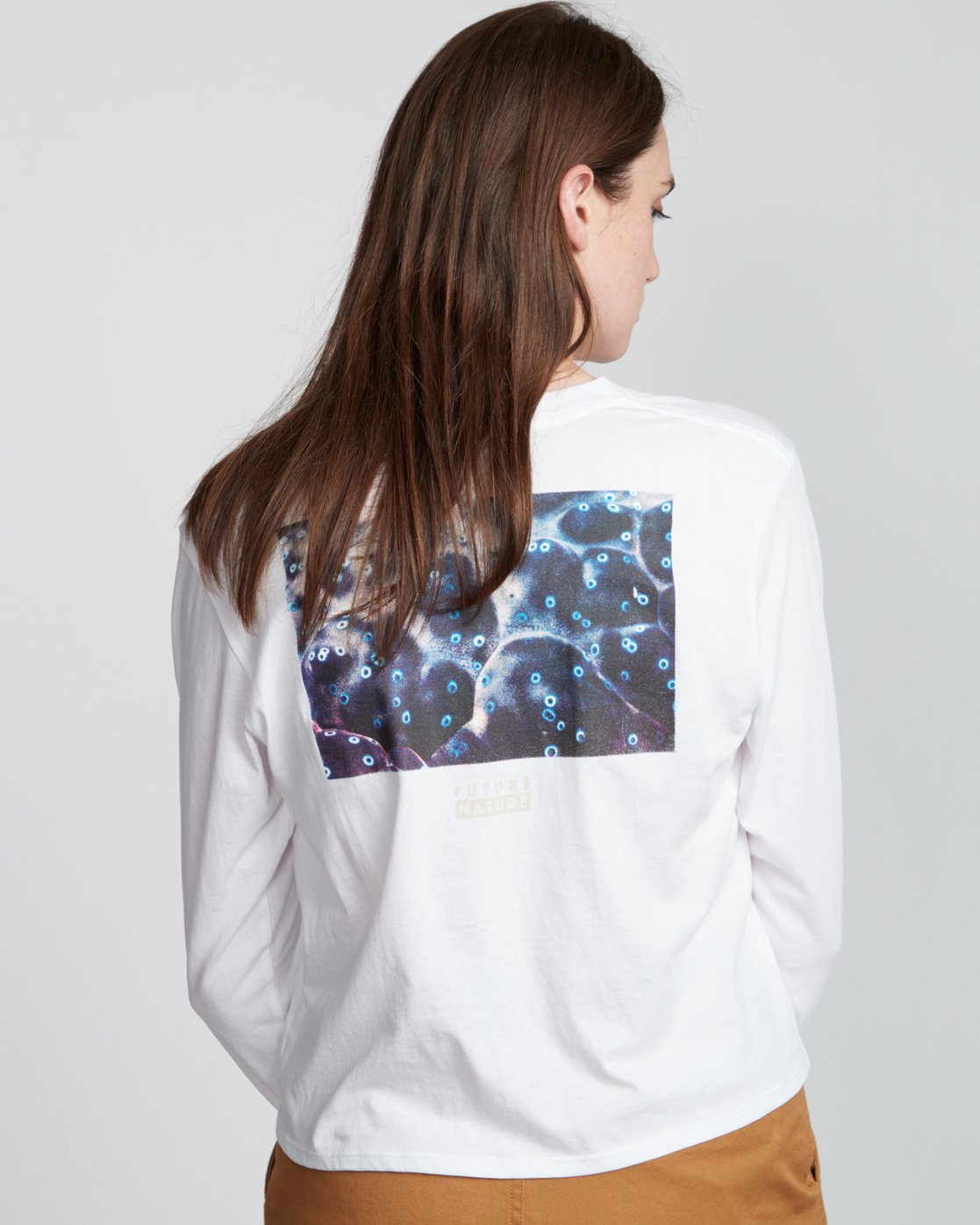 0 Nat Geo - Organic Cotton Long Sleeve T-Shirt for Women White S3LSA1ELP0 Element