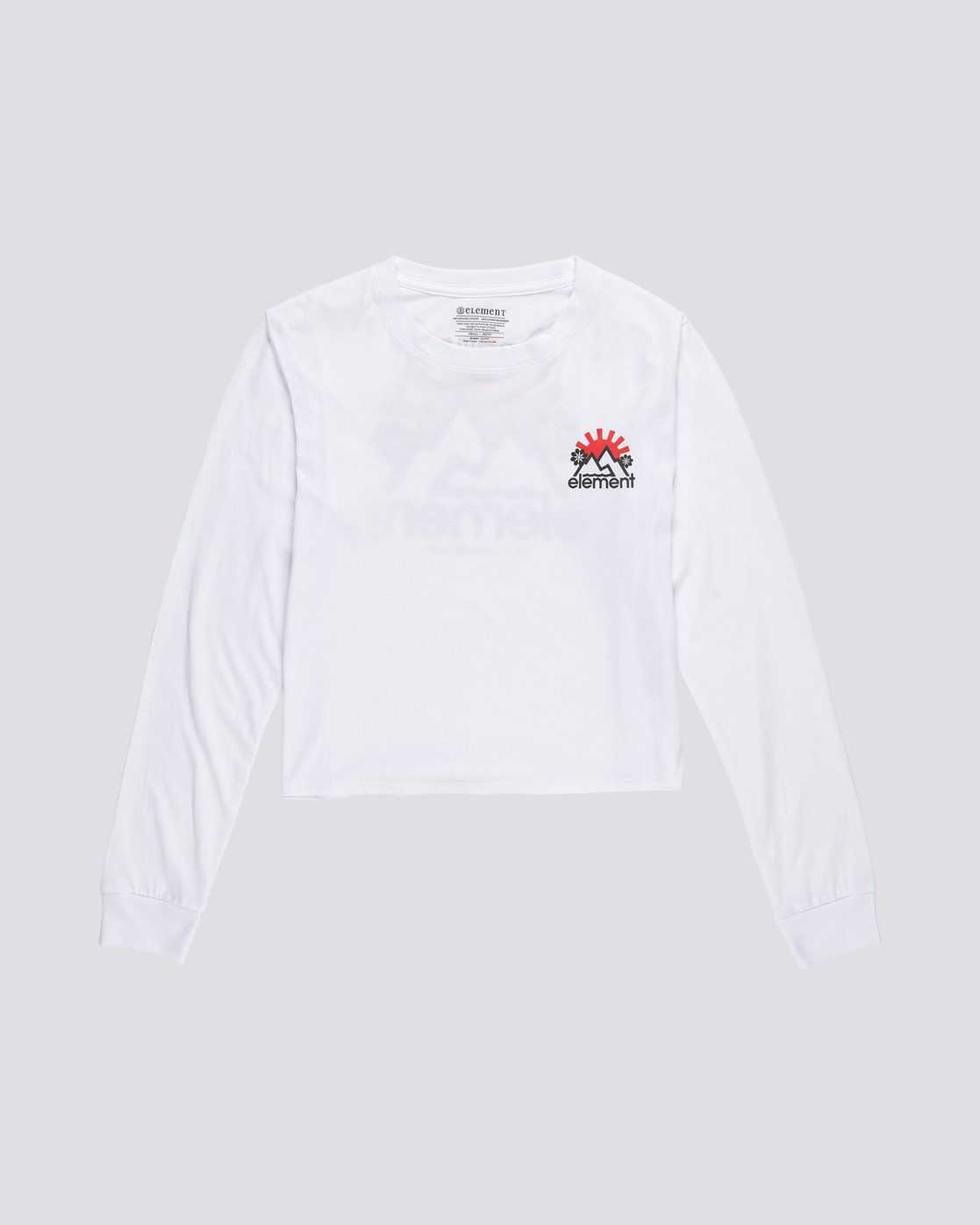 0 Rising Crop - Organic Cotton Long Sleeve T-Shirt for Women White S3LSA2ELP0 Element