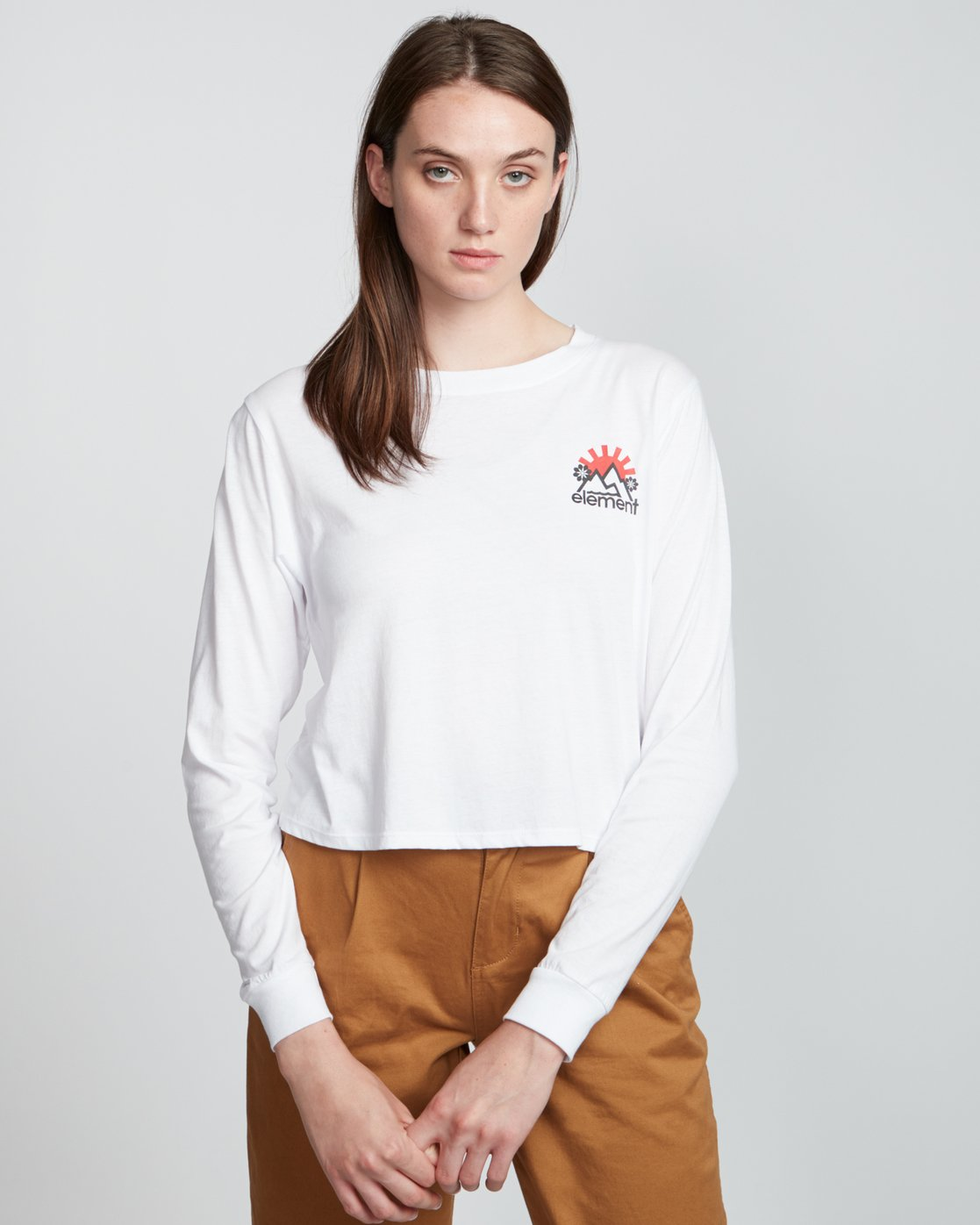 3 Rising Crop - Organic Cotton Long Sleeve T-Shirt for Women White S3LSA2ELP0 Element