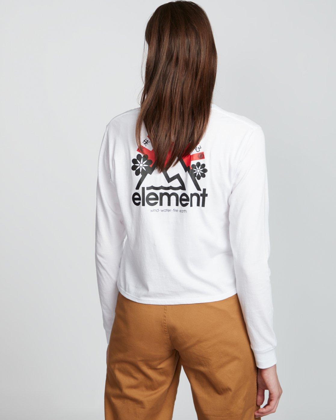 2 Rising Crop - Organic Cotton Long Sleeve T-Shirt for Women White S3LSA2ELP0 Element