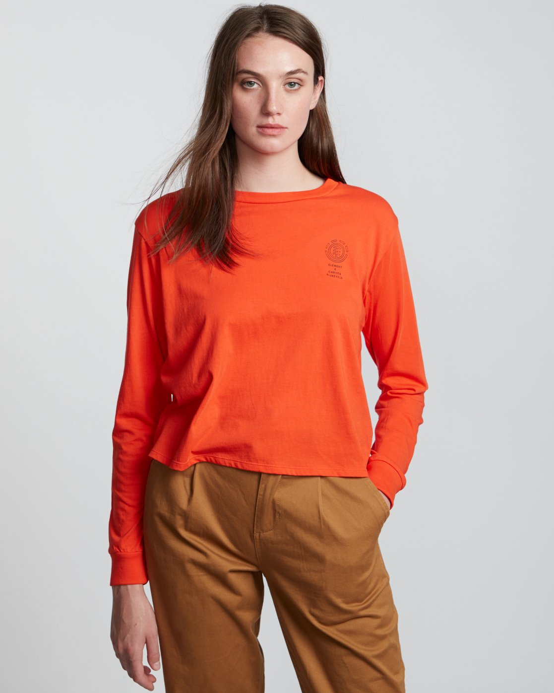 2 Christa Crop - Organic Cotton Long Sleeve T-Shirt for Women  S3LSA3ELP0 Element