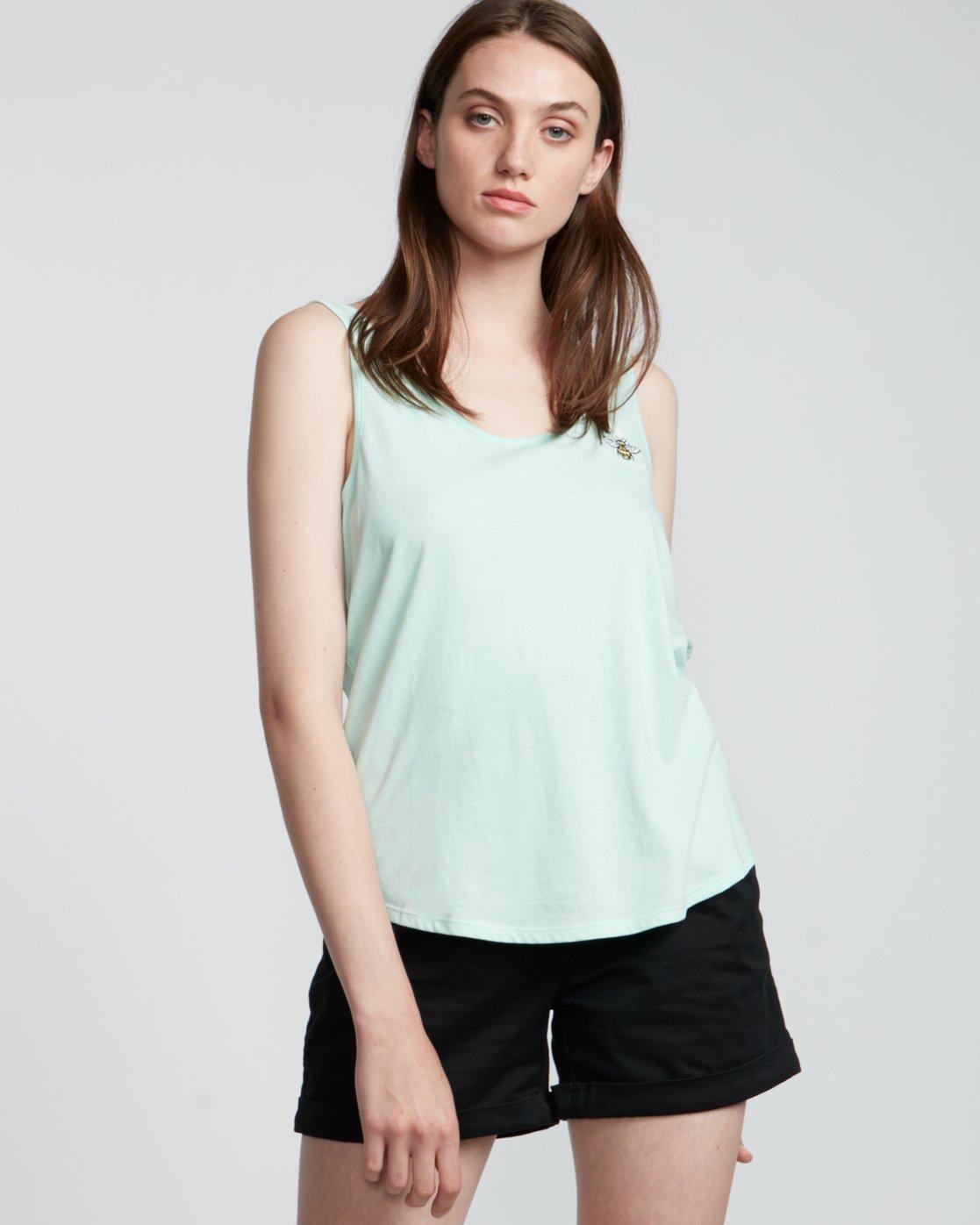 1 Branded Low - Organic Cotton Vest Top for Women Blue S3SGA4ELP0 Element