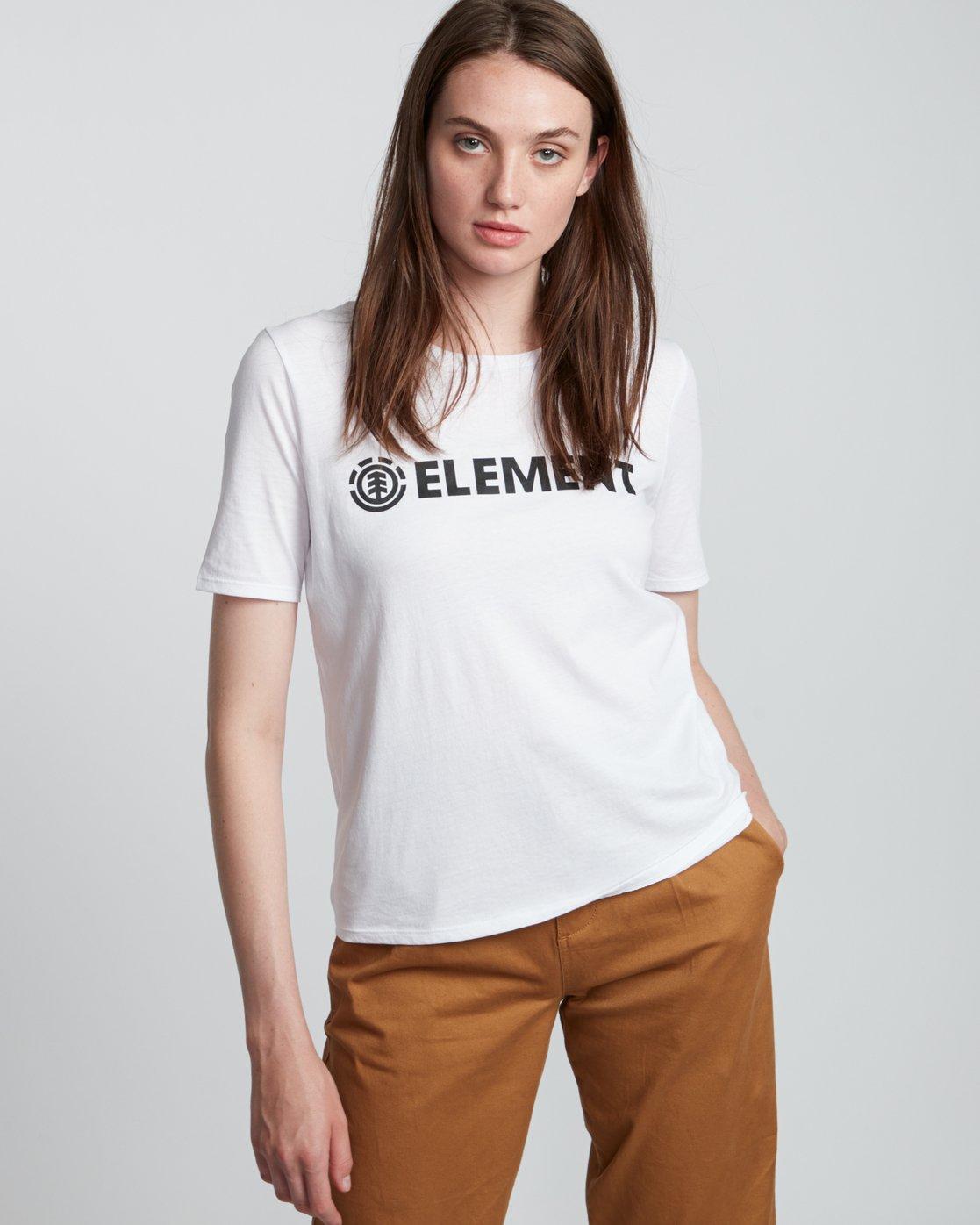 1 Element Logo - T-Shirt manches courtes en coton biologique pour Femme Blanc S3SSA1ELP0 Element