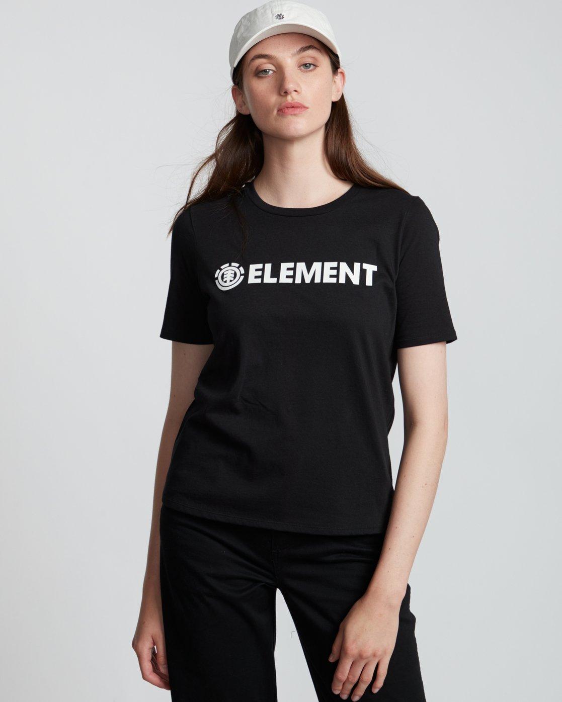 0 Element Logo - T-Shirt manches courtes en coton biologique pour Femme Noir S3SSA1ELP0 Element