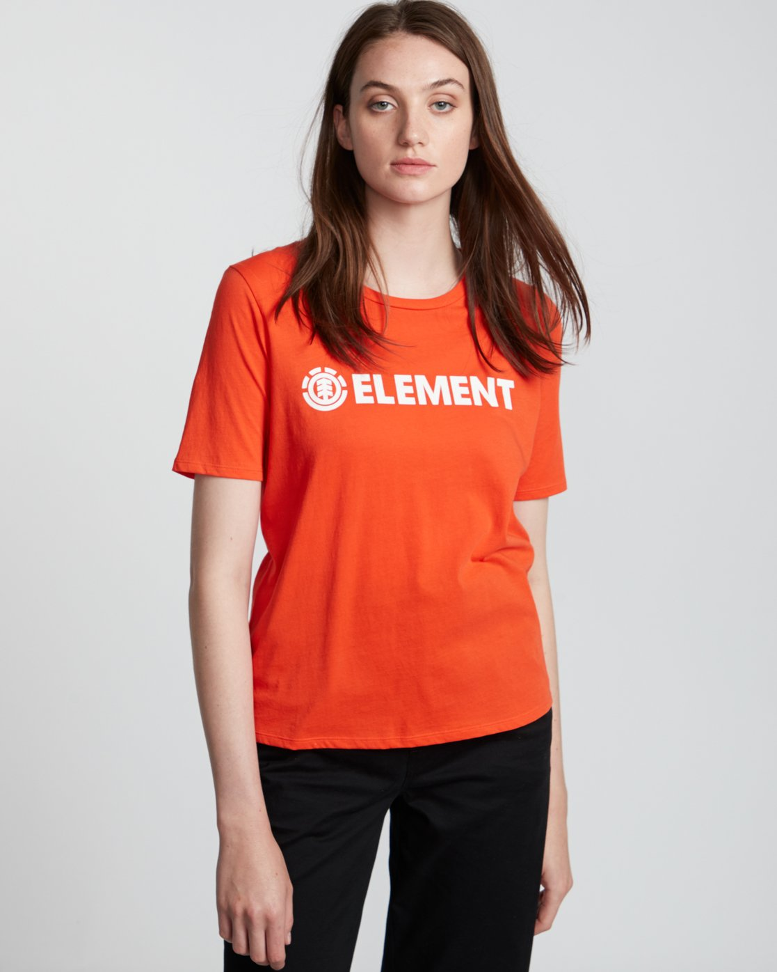 1 Element Logo - Organic Cotton Short Sleeve T-Shirt for Women Orange S3SSA1ELP0 Element