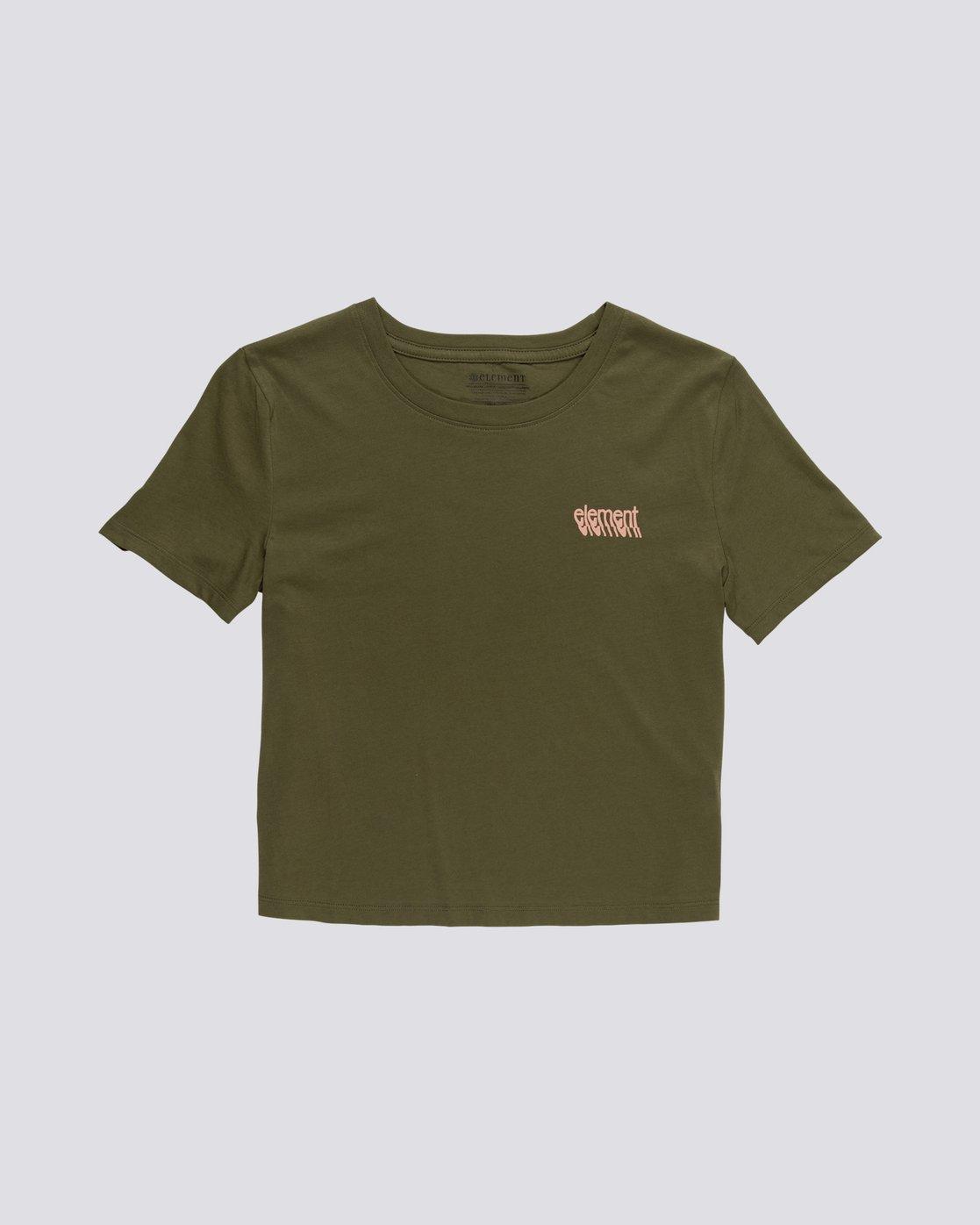 0 Branded Crop - Organic Cotton Short Sleeve T-Shirt for Women Green S3SSA4ELP0 Element