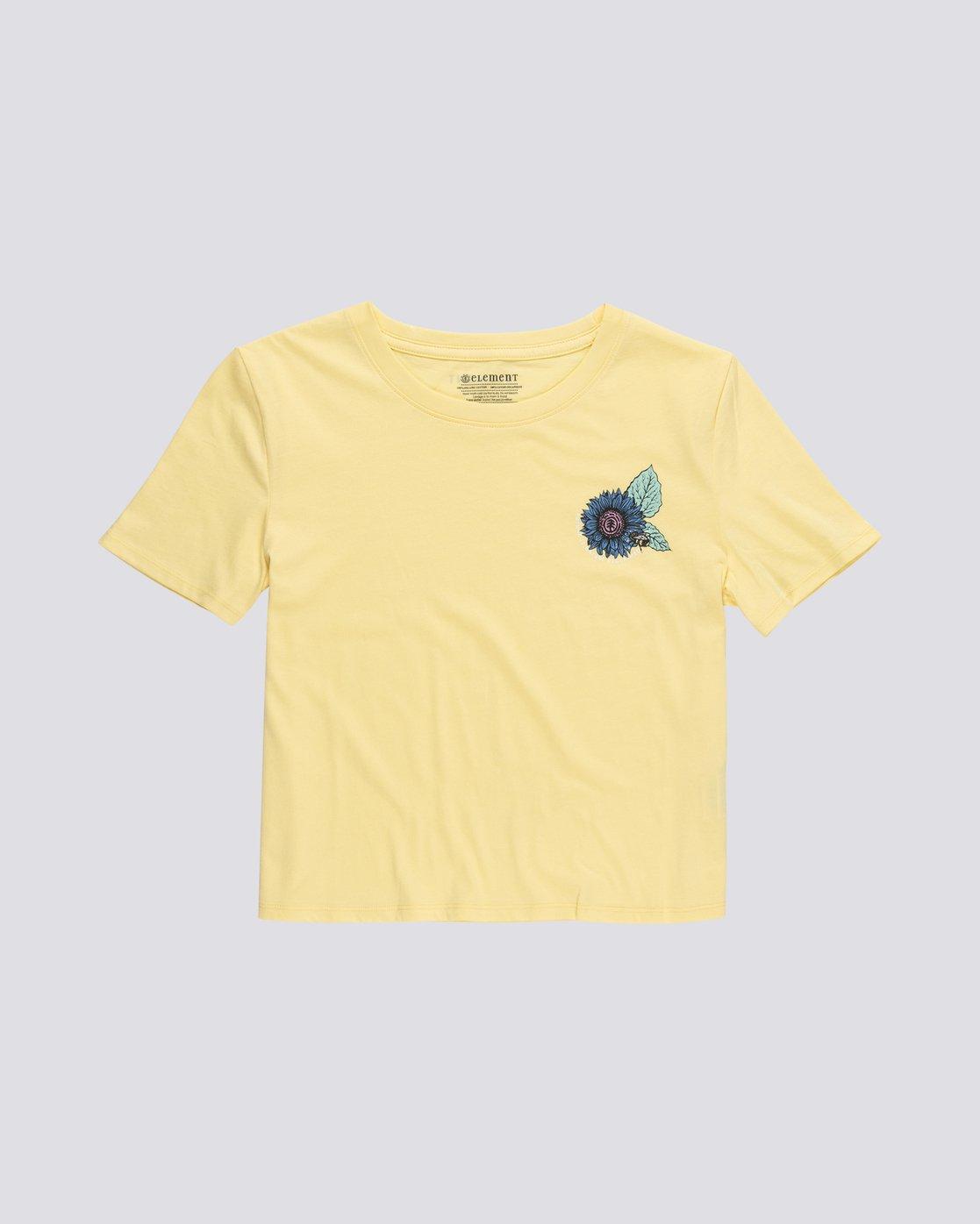 0 Branded Crop - T-Shirt manches courtes en coton biologique pour Femme Jaune S3SSA4ELP0 Element