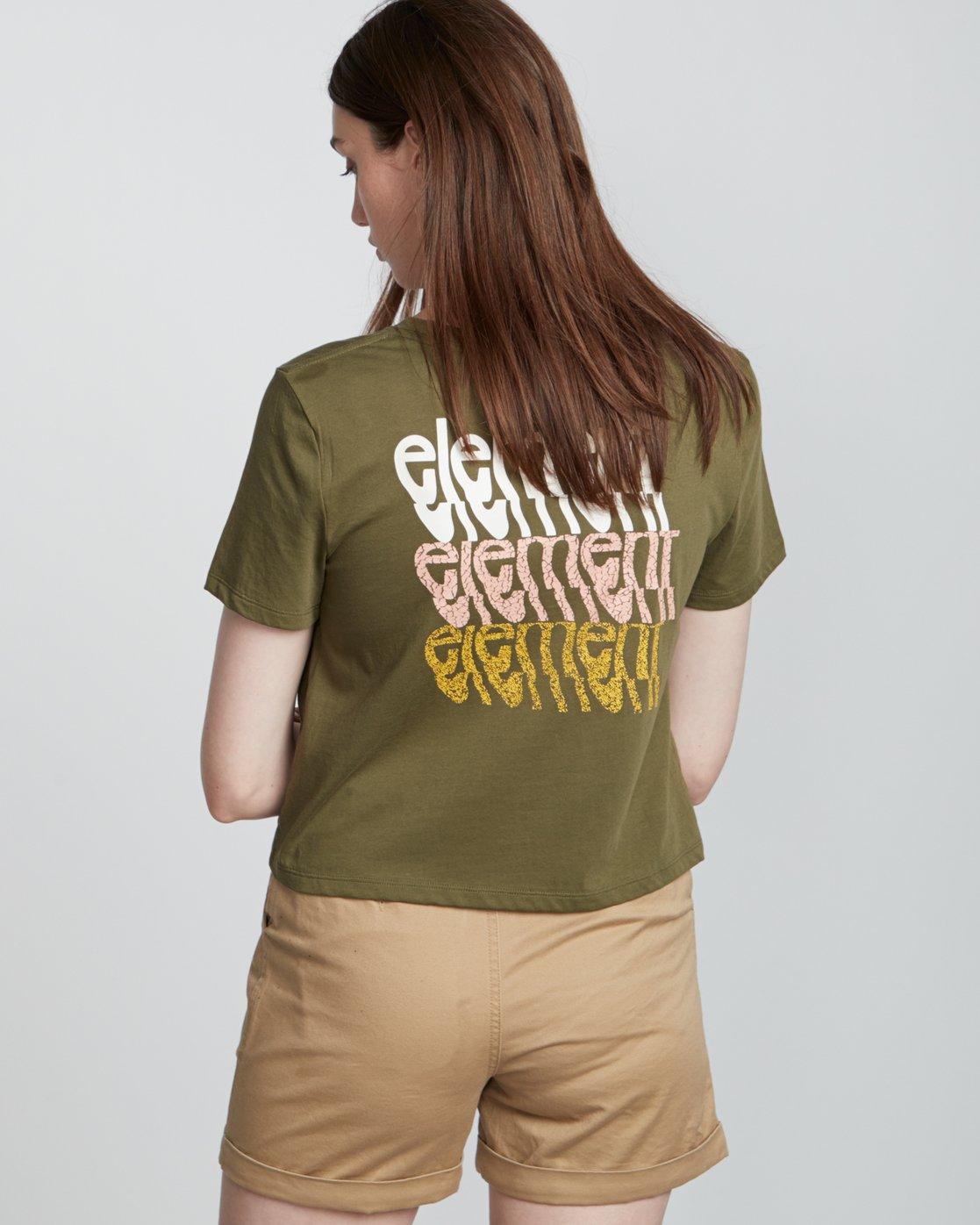 2 Branded Crop - Organic Cotton Short Sleeve T-Shirt for Women Green S3SSA4ELP0 Element