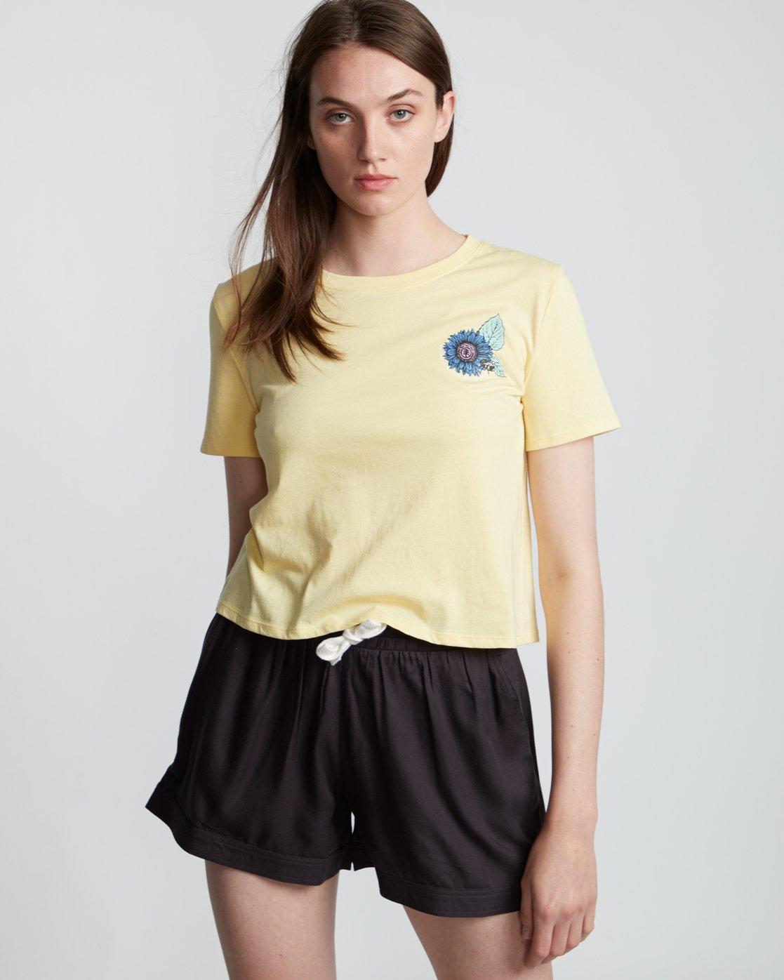 1 Branded Crop - T-Shirt manches courtes en coton biologique pour Femme Jaune S3SSA4ELP0 Element