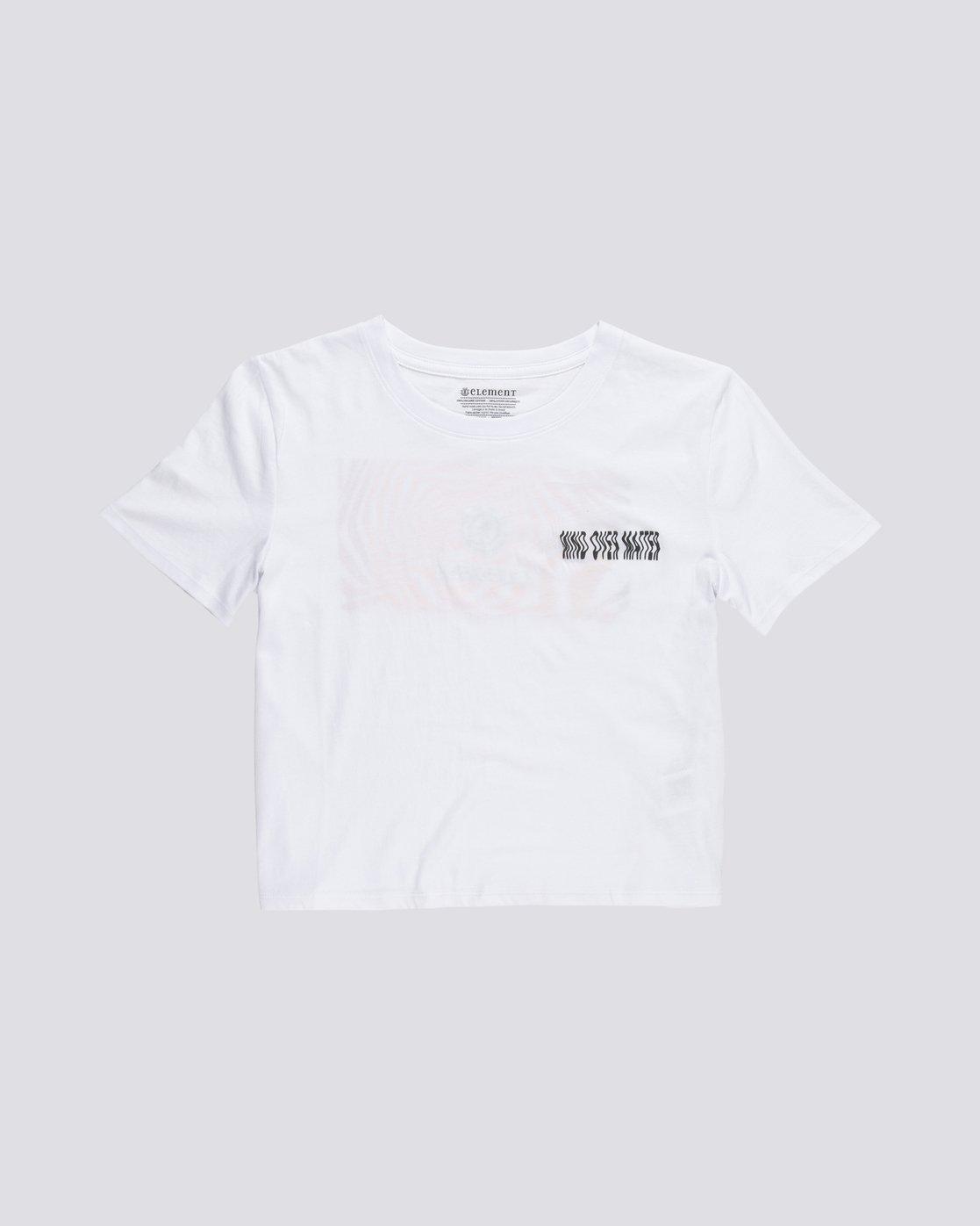 0 Modern Crop - T-Shirt manches courtes en coton biologique pour Femme Blanc S3SSA6ELP0 Element