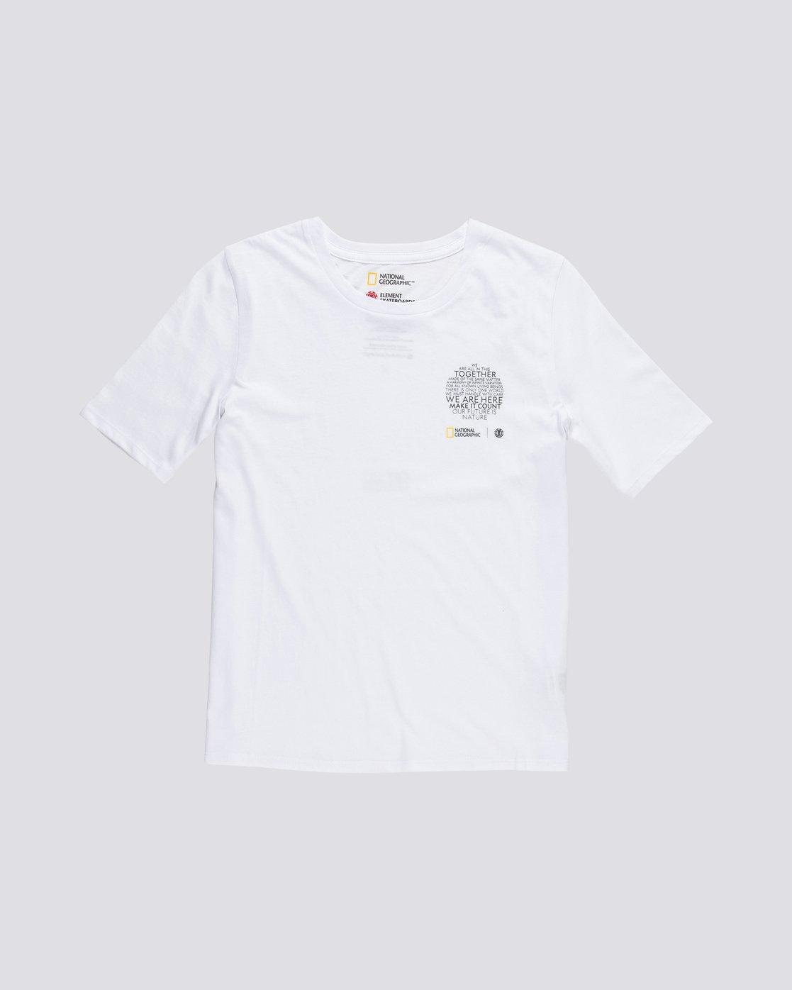 0 Nat Geo - T-Shirt manches courtes en coton biologique pour Femme Blanc S3SSA7ELP0 Element