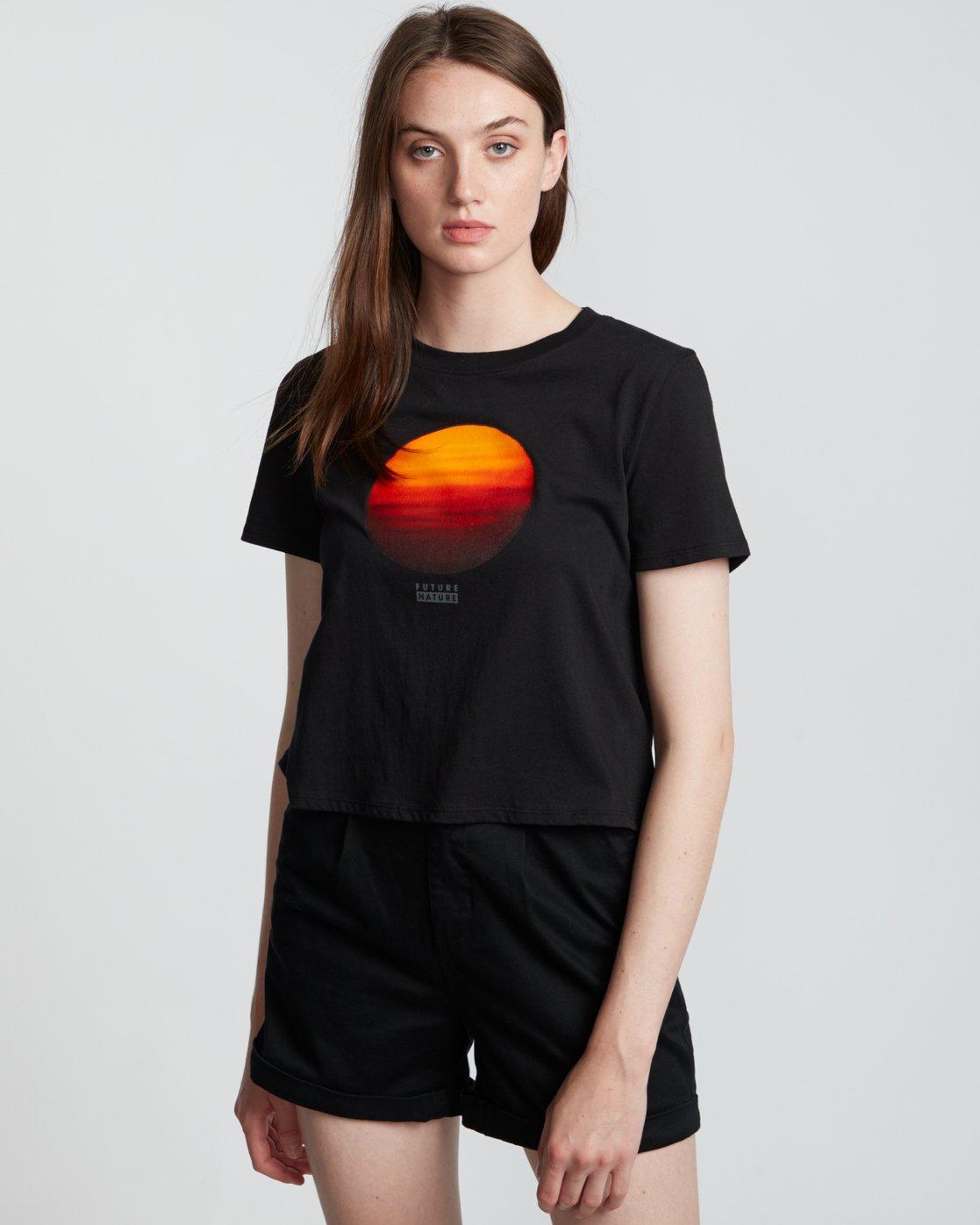 1 Nat Geo Crop - Organic Cotton Short Sleeve T-Shirt for Women Black S3SSA8ELP0 Element