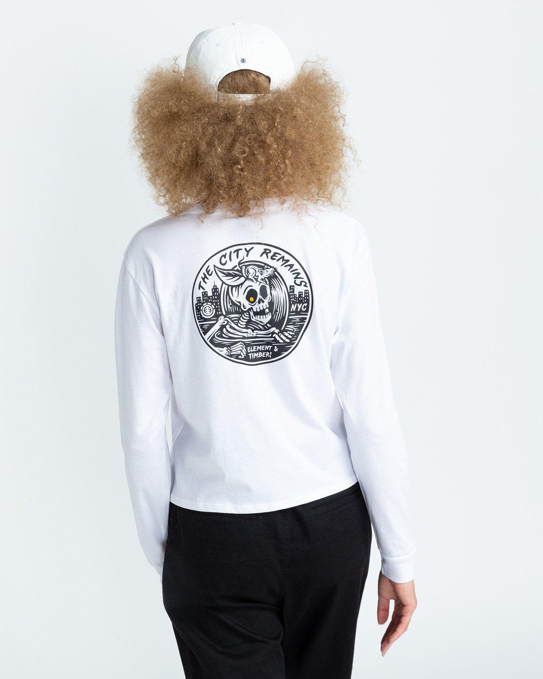 4 Timber! The Remains B Side Crop - T-shirt manches longues pour Femme Blanc U3LSA1ELF0 Element
