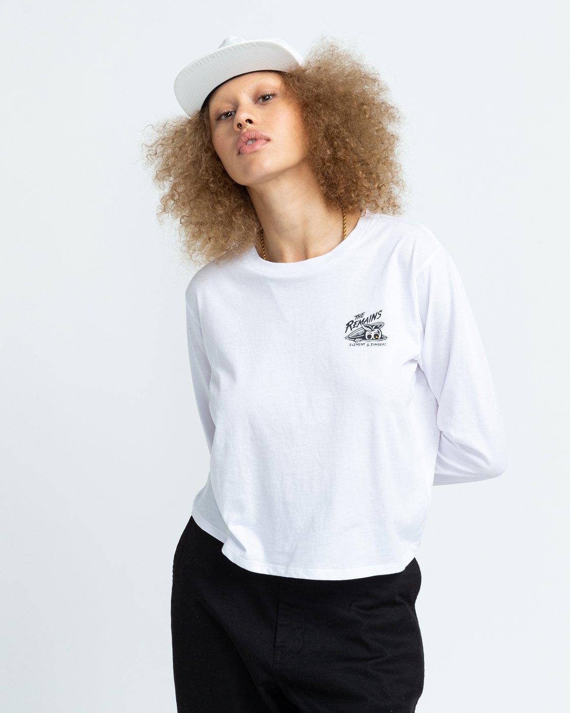 2 Timber! The Remains B Side Crop - T-shirt manches longues pour Femme Blanc U3LSA1ELF0 Element