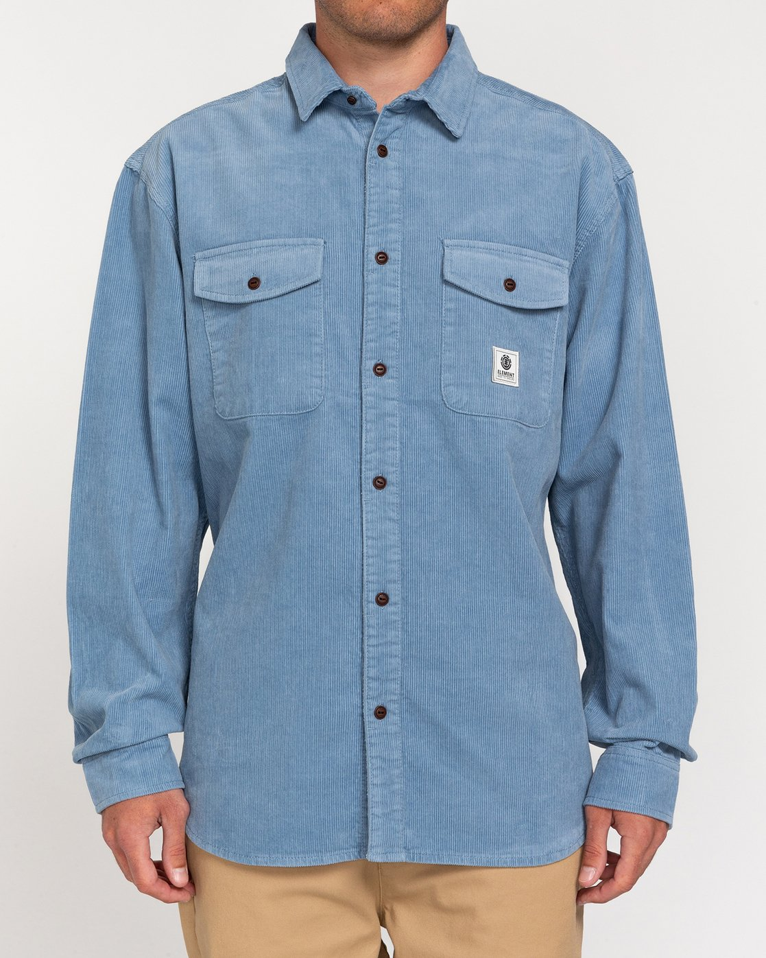 1 Builder Corduroy - Long Sleeve Shirt for Men Blue W1SHC6ELP1 Element