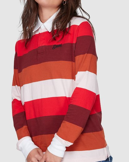 3 BREAK DOWN RUGBY LONG SLEEVE TOP Red 207152 Element