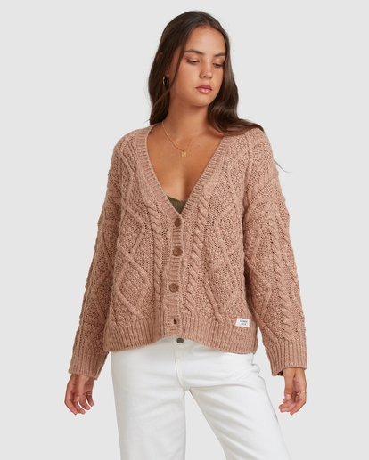 1 CAMDEN KNITTED CARDIGAN Brown 217152 Element