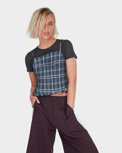 0 LOOPED CHECK CAMI TOP Blue 284218 Element